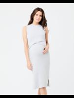 Ripe Maternity RIpe Maternity, Layered Knit Nursing Dress in Silver Marle