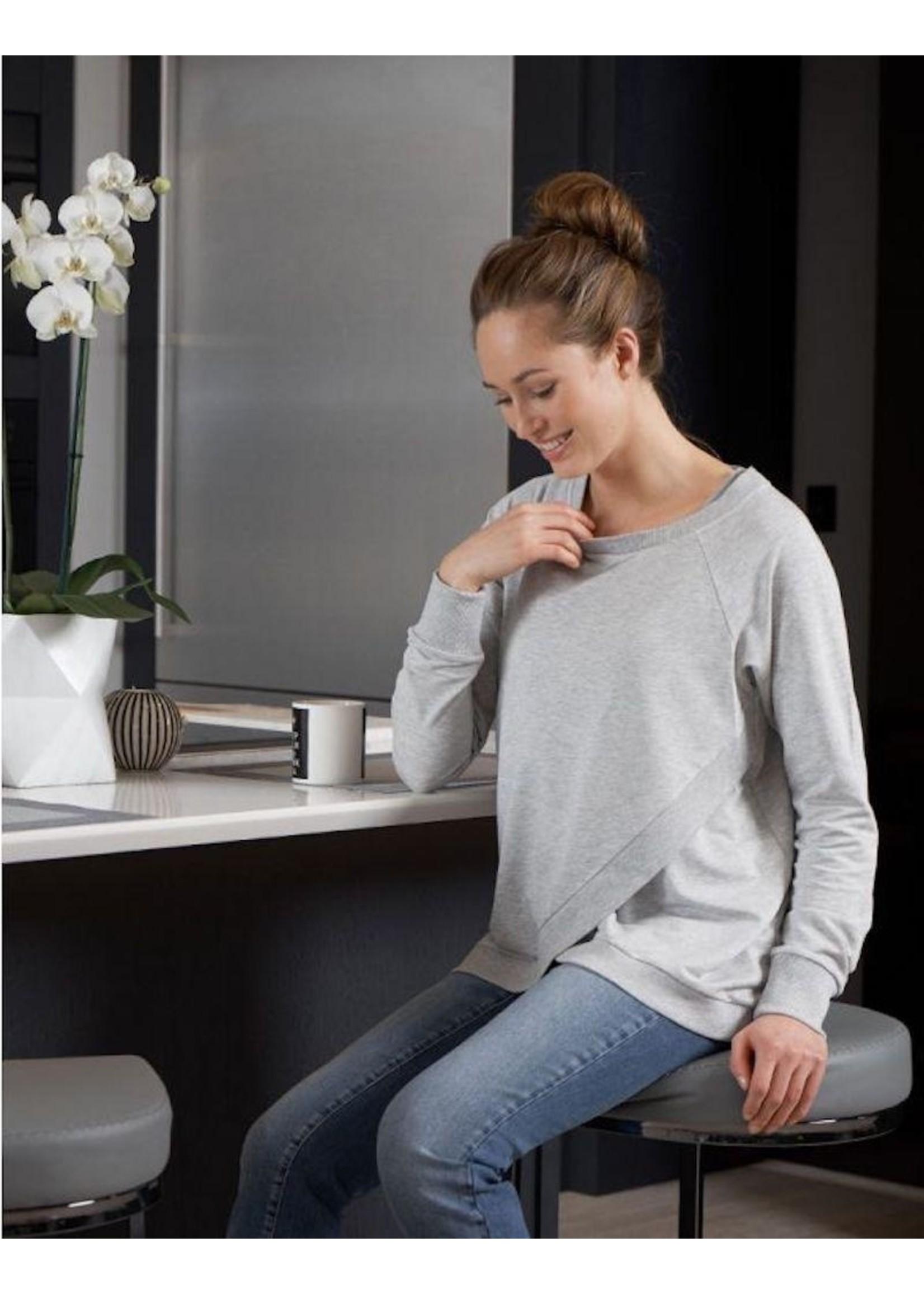 Seraphine Seraphine, Sybil, Crossover Maternity & Nursing Sweater In Grey Marl