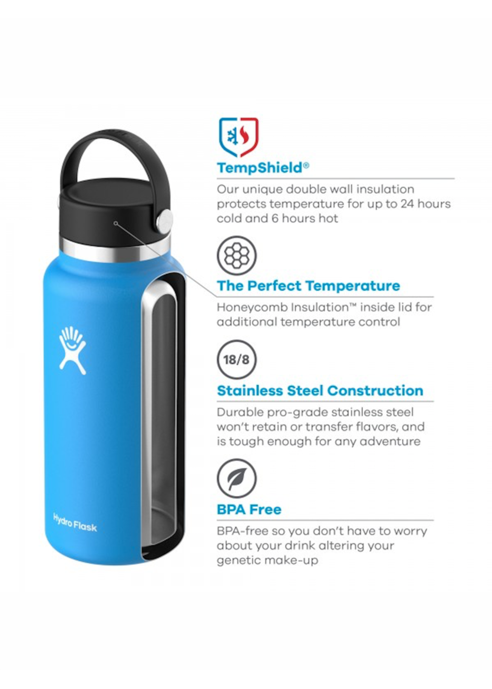 Hydro Flask Hydro Flask, 32 oz Wide Mouth 2.0  Flex Cap Insulated Stainless Steel Bottle in Black
