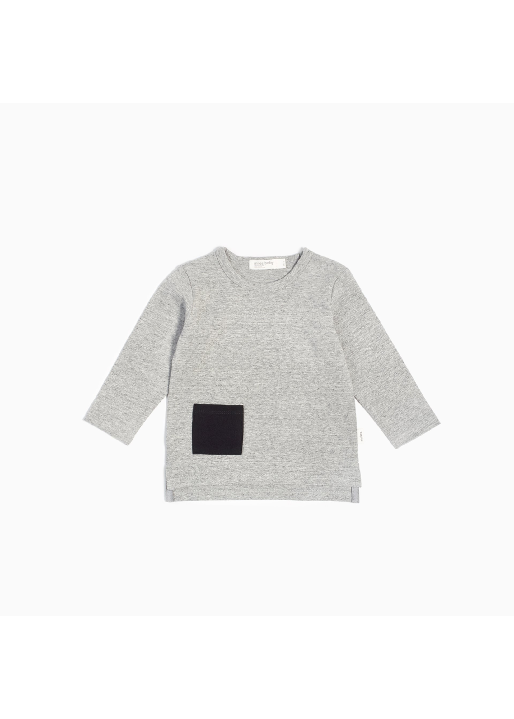 """Miles Baby Miles Baby, """"Miles Basic"""" Heather Grey Long Sleeve T-Shirt for Boy"""