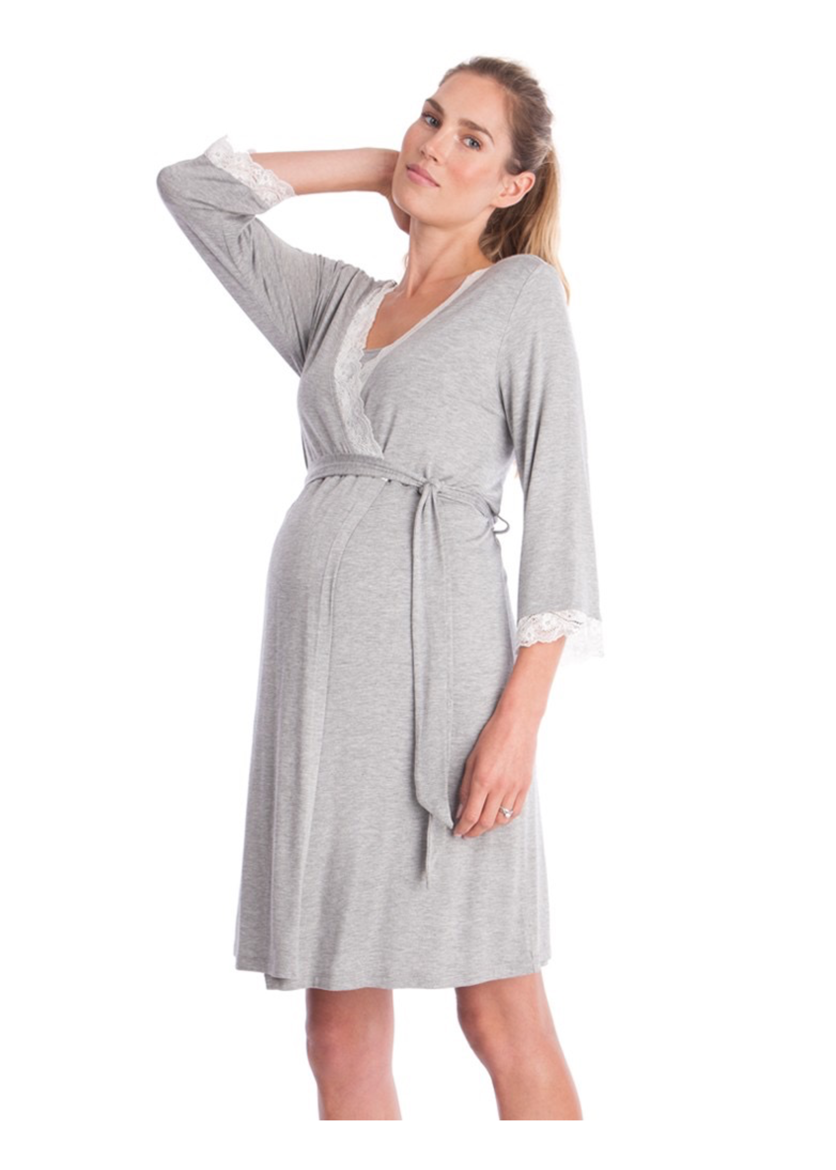 Seraphine Seraphine Piper-Lace Trim Dressing Gown in Grey