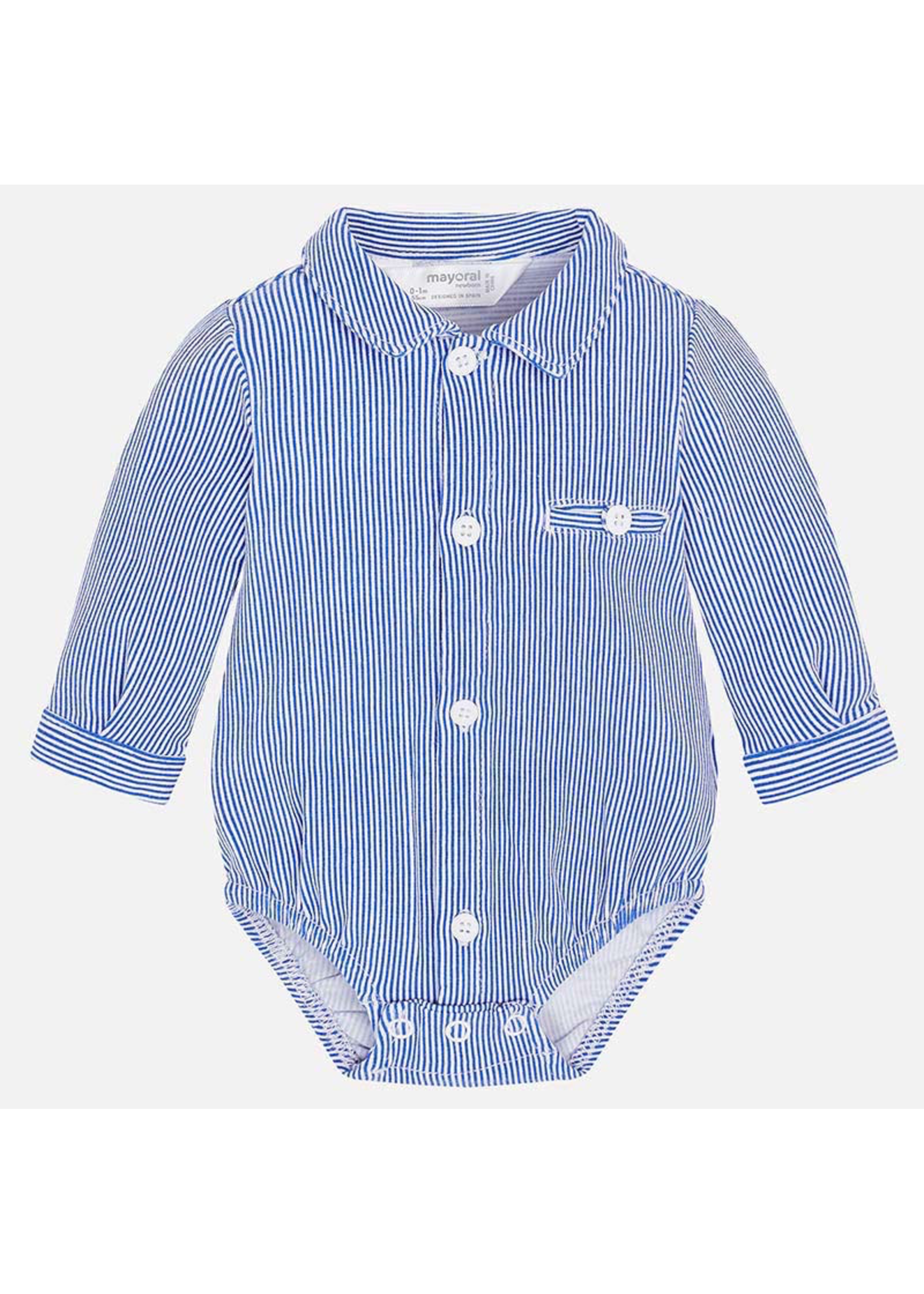 Mayoral Mayoral, Long Sleeved Striped Bodysuit with Shirt Collar for Baby Boy