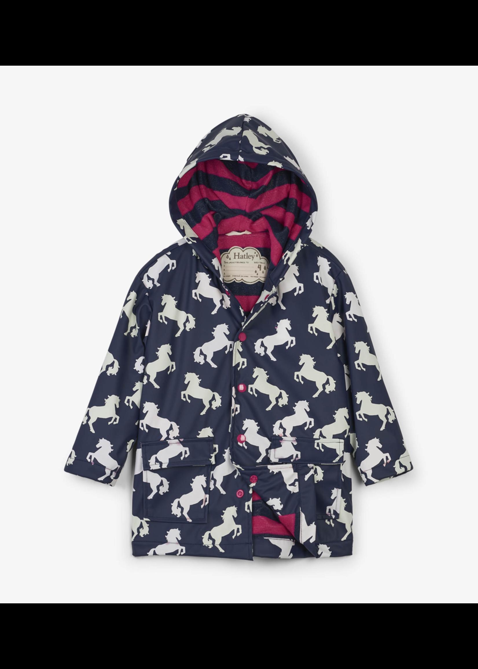 Hatley Hatley, Playful Horses Colour Changing Raincoat for Girl
