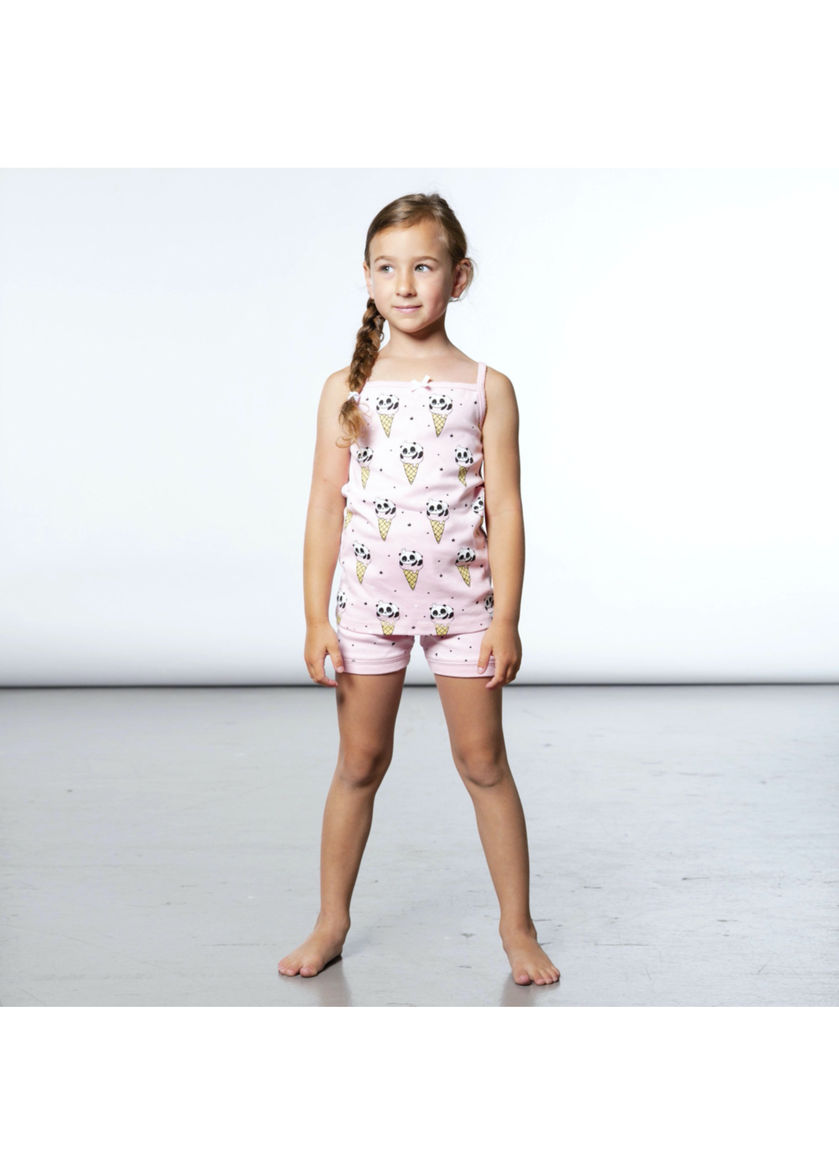 Deux Par Deux Deux Par Deux, Glow In The Dark Panda Ice Cream Print Short Pajama set for Girl - P-60824