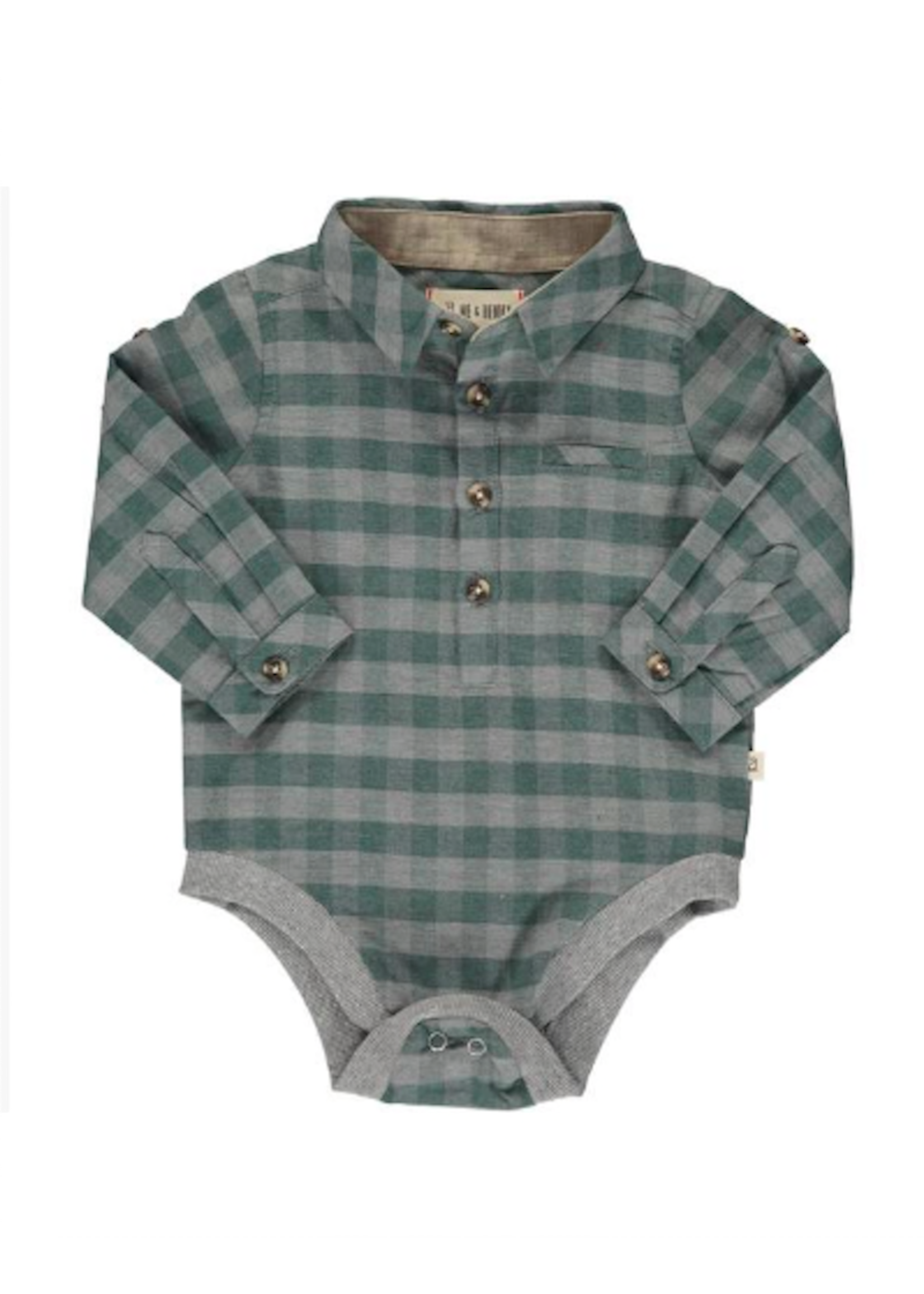 Me & Henry Me & Henry, Green/Grey Plaid Woven Onesie