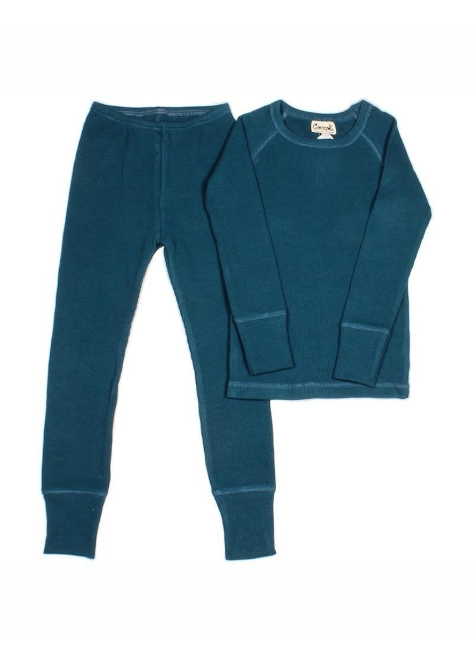 Coccoli Coccoli, Blue Waffle Knit Pajama Set