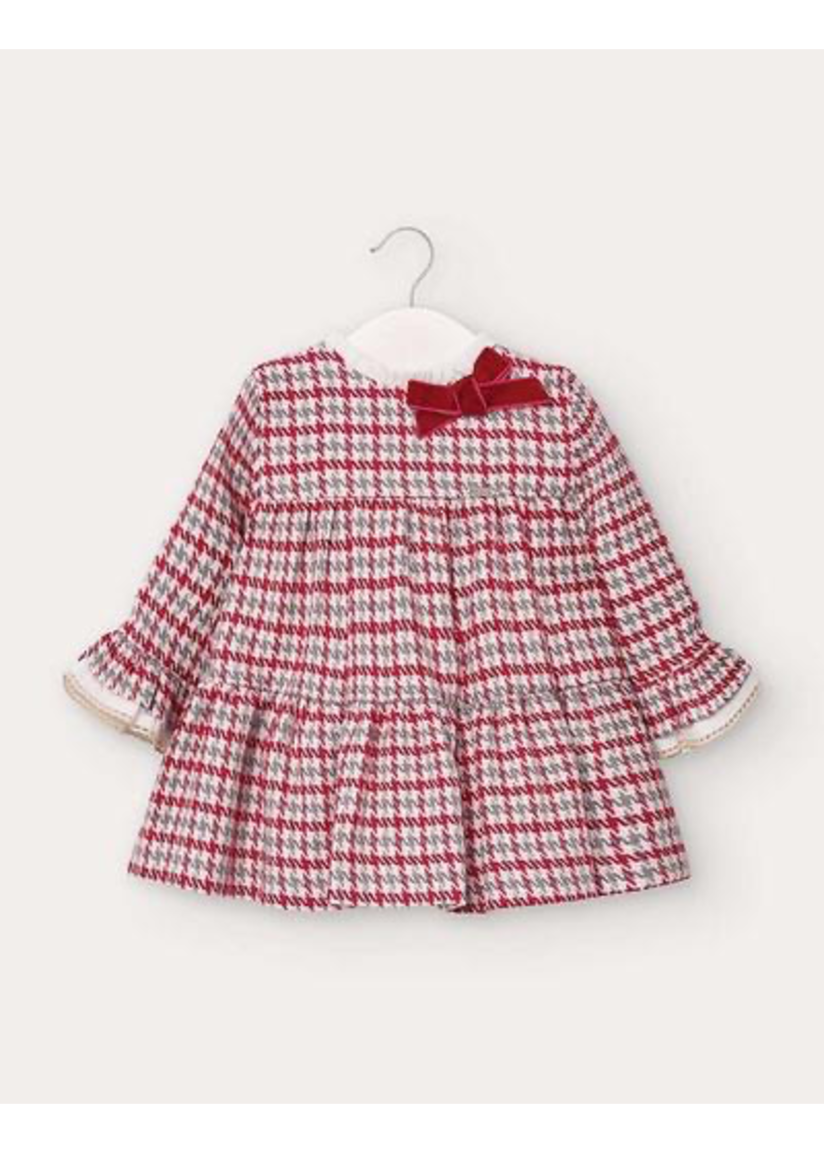 Mayoral Mayoral, Houndstooth Baby Girl Dress in Carmine