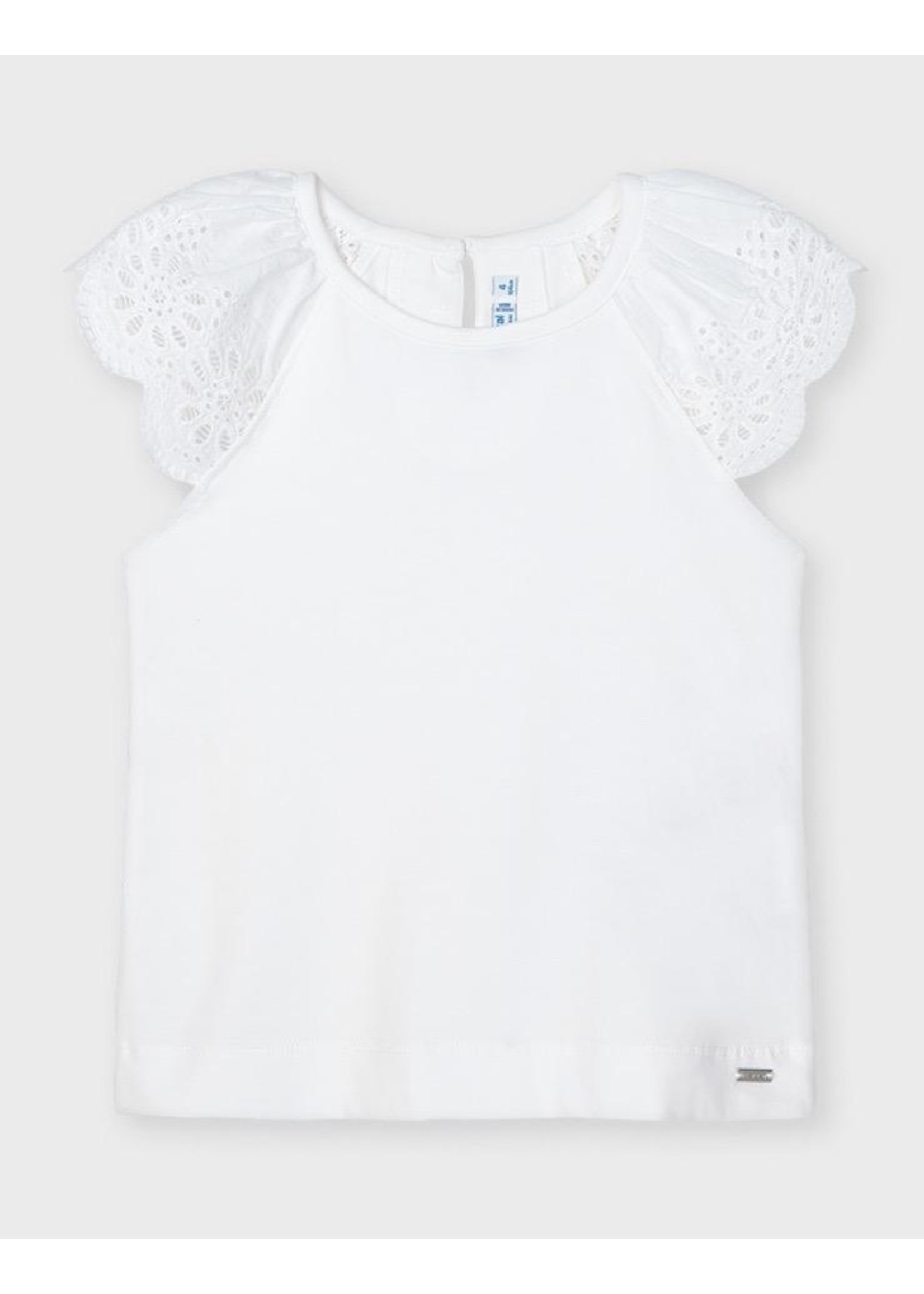 Mayoral Mayoral, White Perforated Sleeves S-shirt