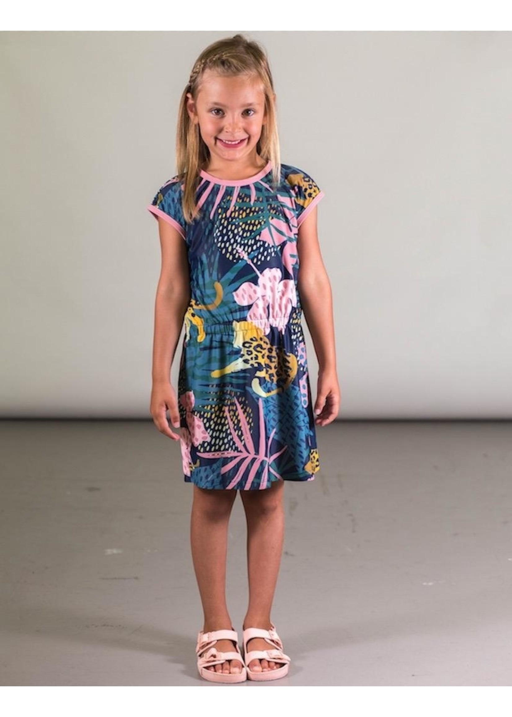 Deux Par Deux Deux Par Deux, Short Sleeve Beach Dress with Cheetah Print