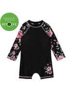 Deux Par Deux Deux Par Deux, Floral Print Long Sleeve Romper Swimsuit