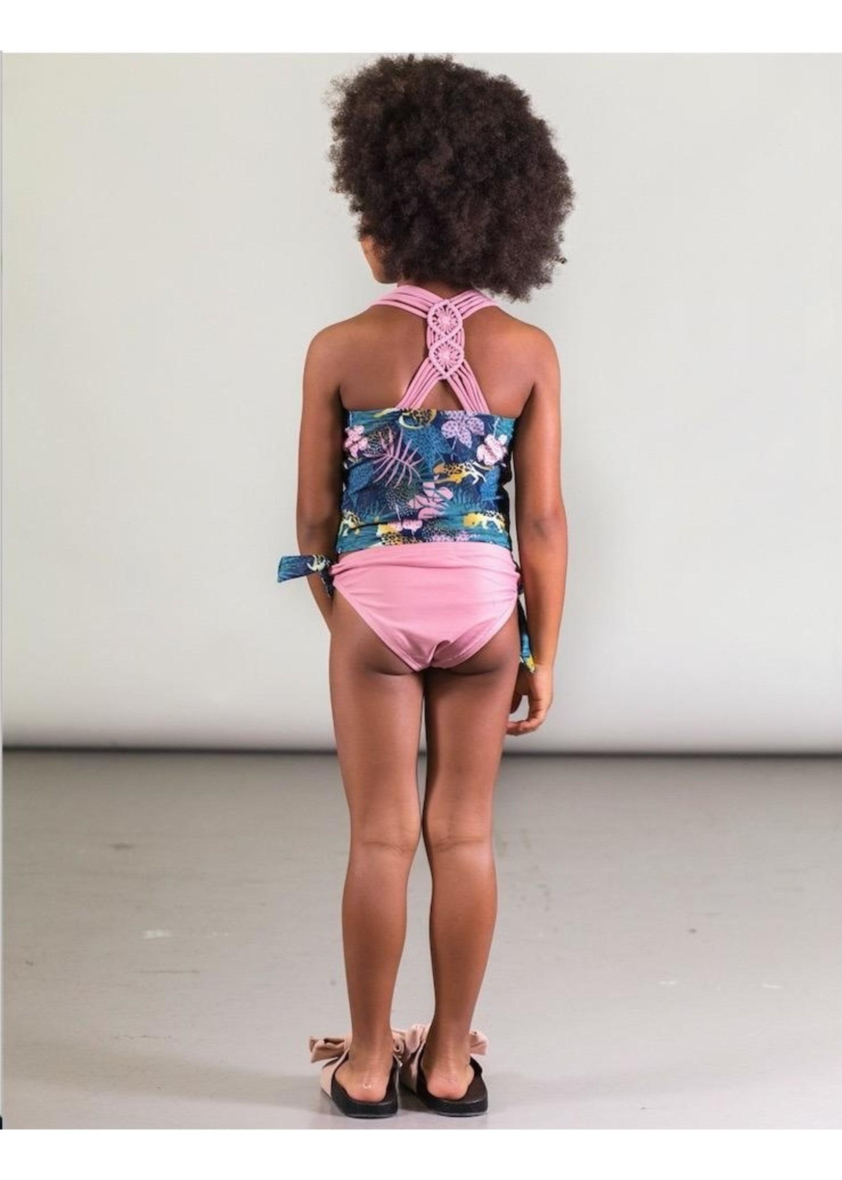 Deux Par Deux Deux Par Deux, Floral Printed Top and Solid Bottom Two Piece Swimsuit