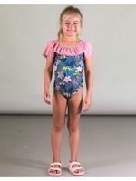 Deux Par Deux Deux Par Deux, One Piece Swimsuit with Cheetah and Ruffles