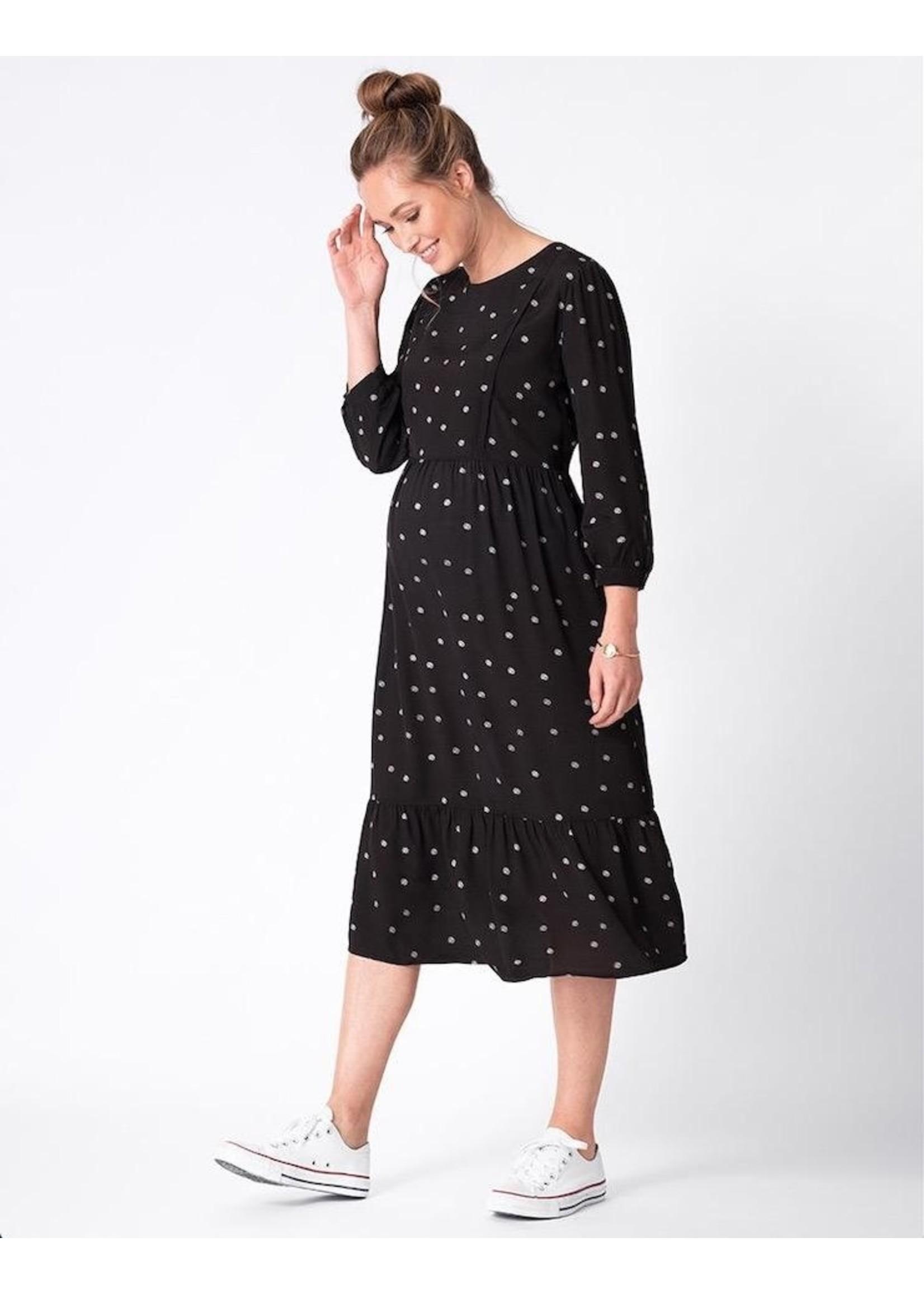 Seraphine Seraphine, Sorina Black Dot Maternity & Nursing Midi Dress