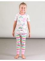 Deux Par Deux Deux Par Deux, Organic Cotton Two Piece Pajama Set with Rainbows and Stripes