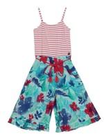 Deux Par Deux Deux Par Deux, Wide Leg Jumpsuit with Red & Wite Stripe and Flower Print