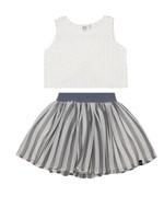 Deux Par Deux Deux Par Deux, Flowers Jacquard Top And Stripe Veil Skirt Set