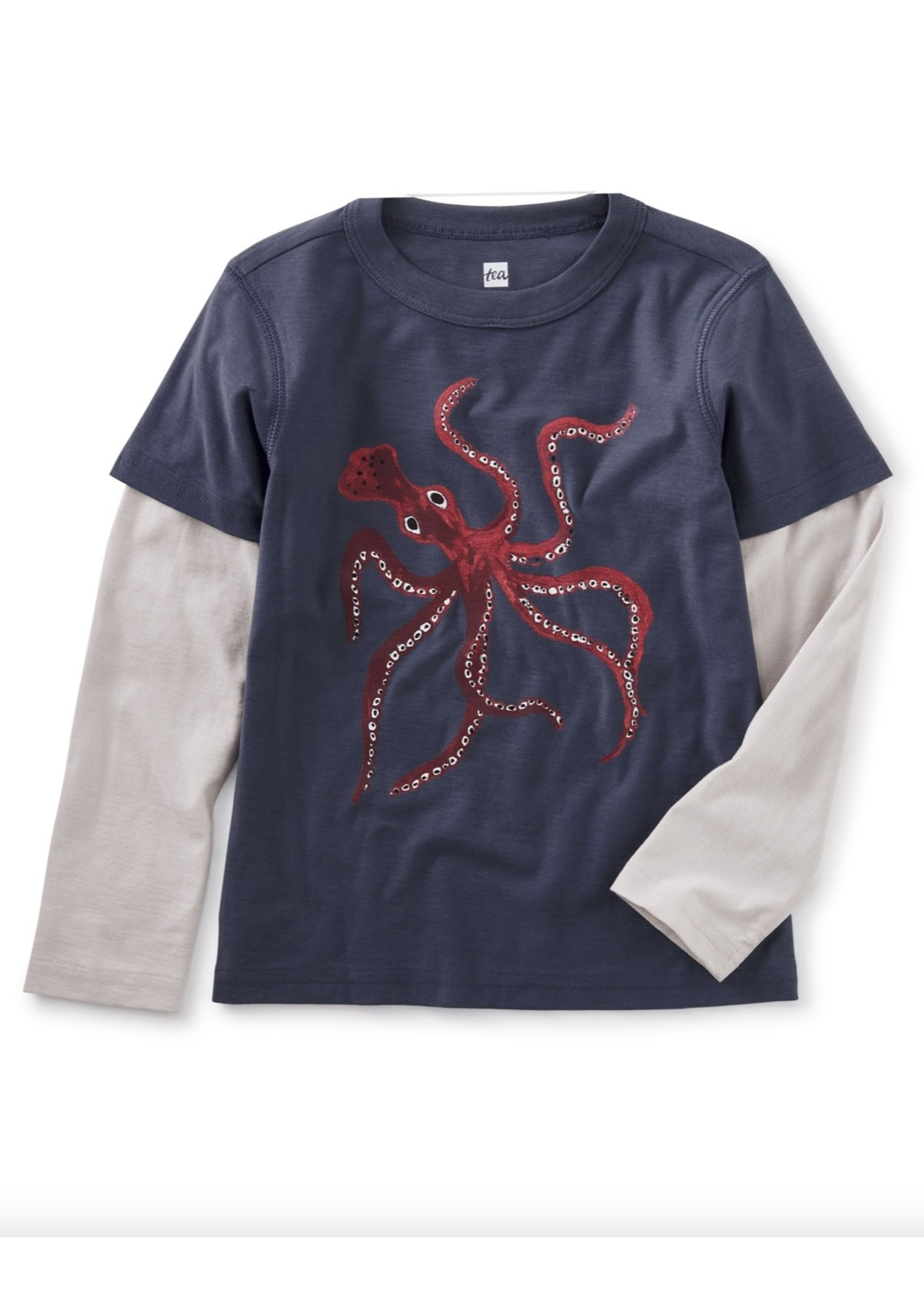 Tea Collection Awesome Octo Graphic Long Sleeve Tee in Triumph
