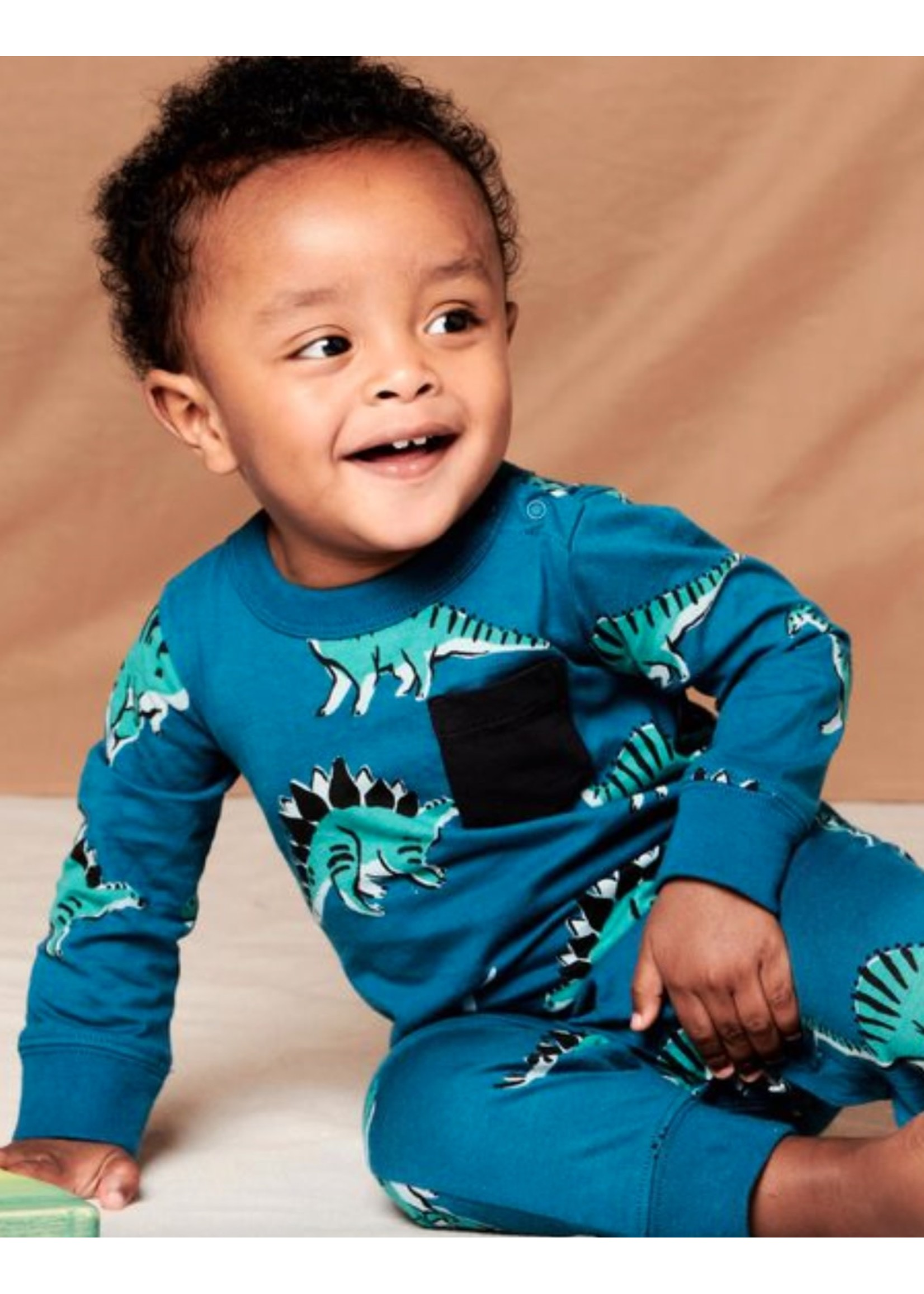 Tea Collection Dynamic Dinos Long Sleeve Baby Romper in Blue