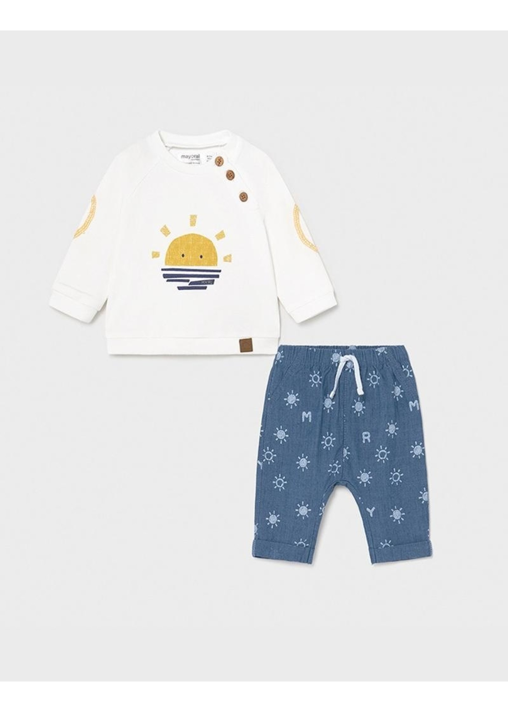 Mayoral Mayoral, Blue Denim Baby Shirt and Pant Set