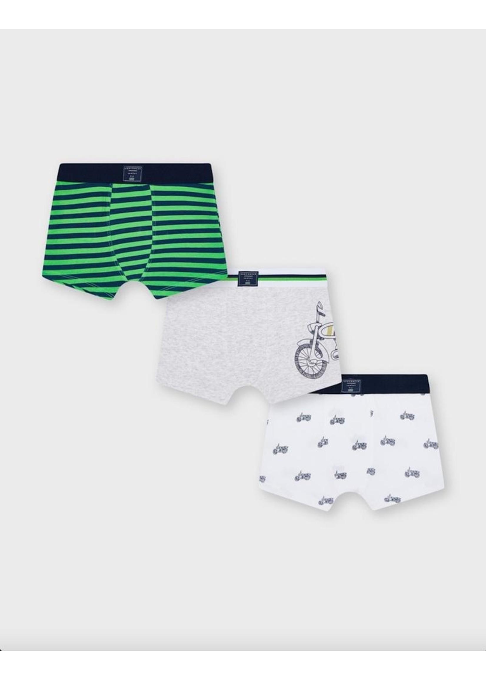 Mayoral Mayoral, Matcha Bicycle Printed Boxer Shorts Set 3 pack