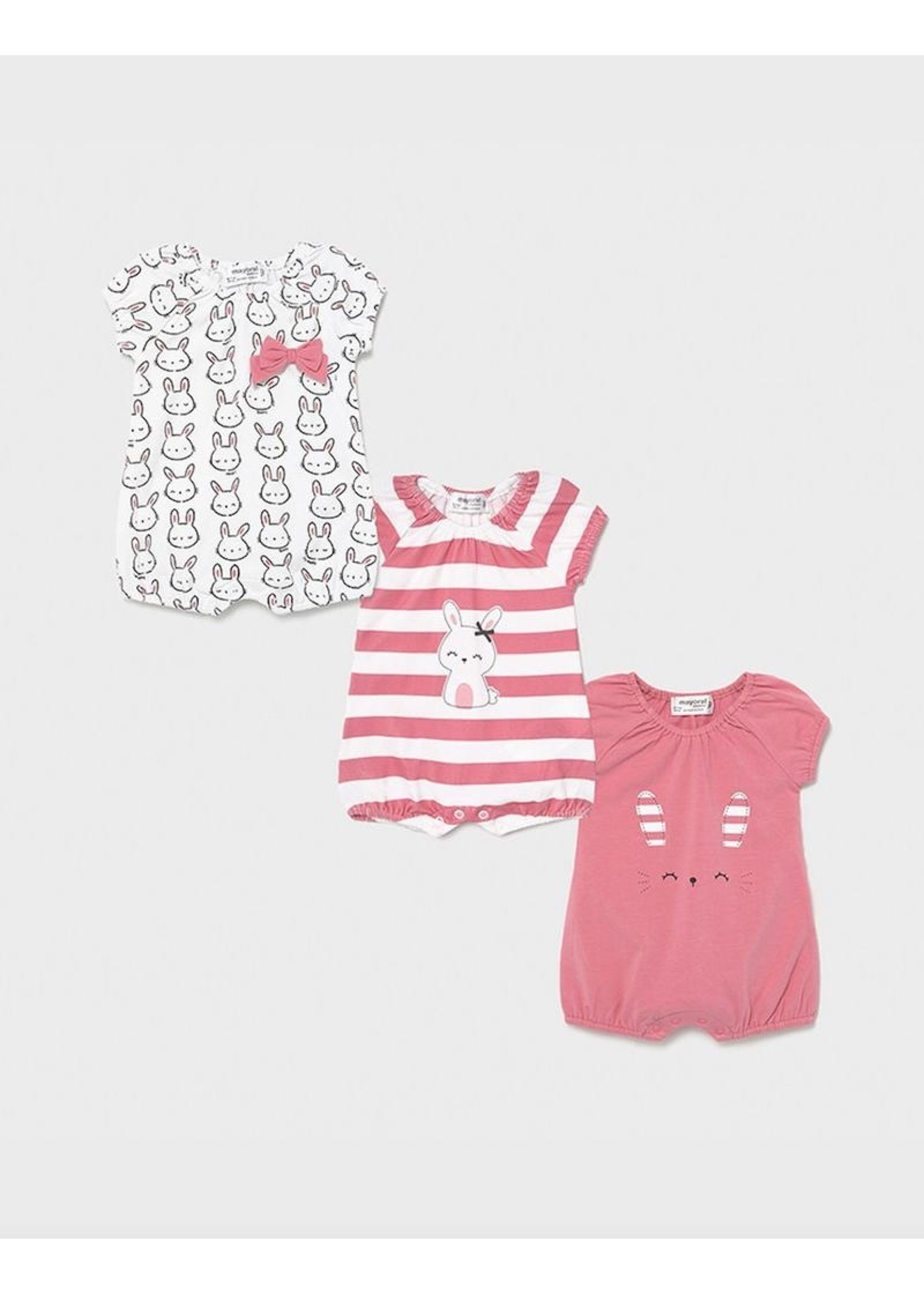 Mayoral Mayoral, Bubble Gum Set of 3 Bunny Print Knit Onesies