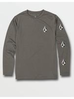 Volcom Volcom Kids, Big Boys Deadly Stones Grey Long Sleeve UPF 50 Rashguard