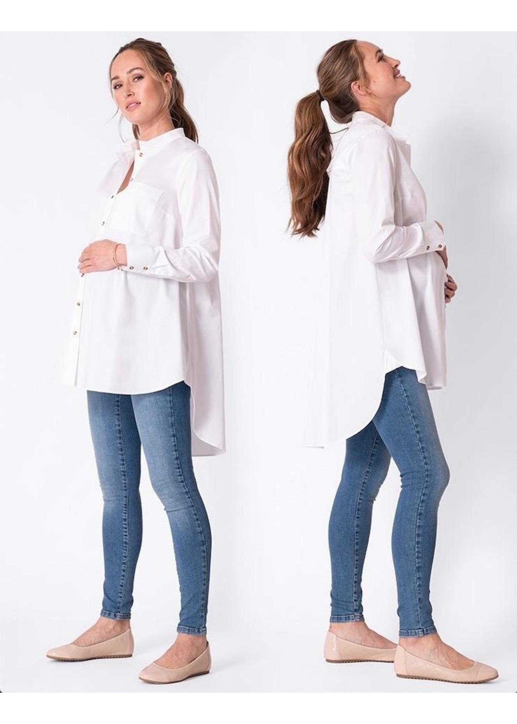 Seraphine Seraphine, Henrika, High-Low Hem White Cotton Maternity Shirt