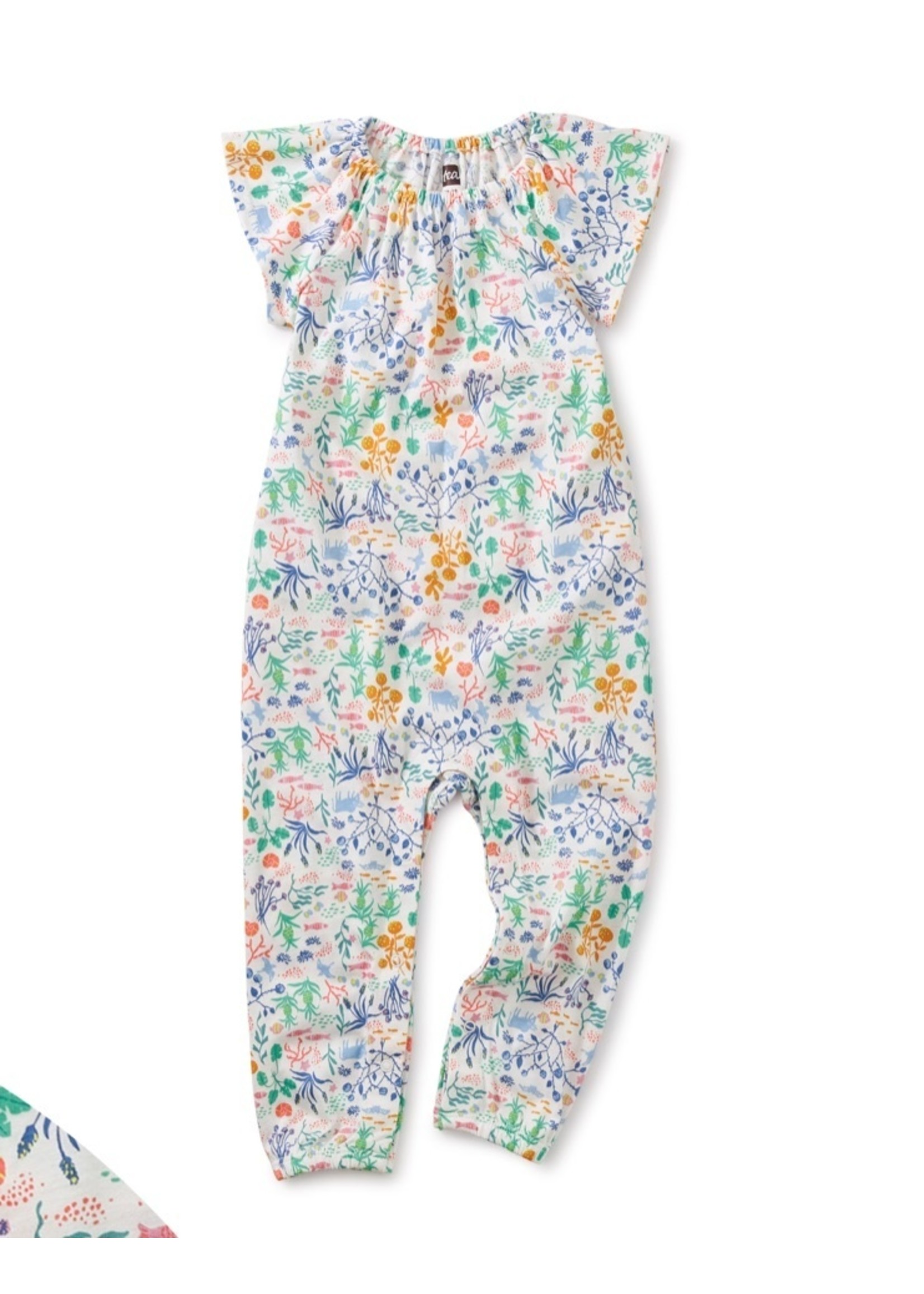 Tea Collection Azores Island Liberty Flutter Sleeve Baby Romper