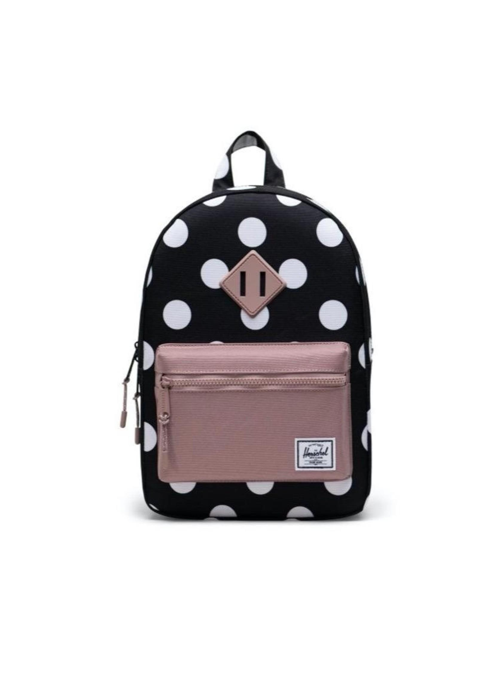 Herschel Supply Co. Heritage Backpack   Youth, Polka Dot Black and White/Ash Rose, 16L
