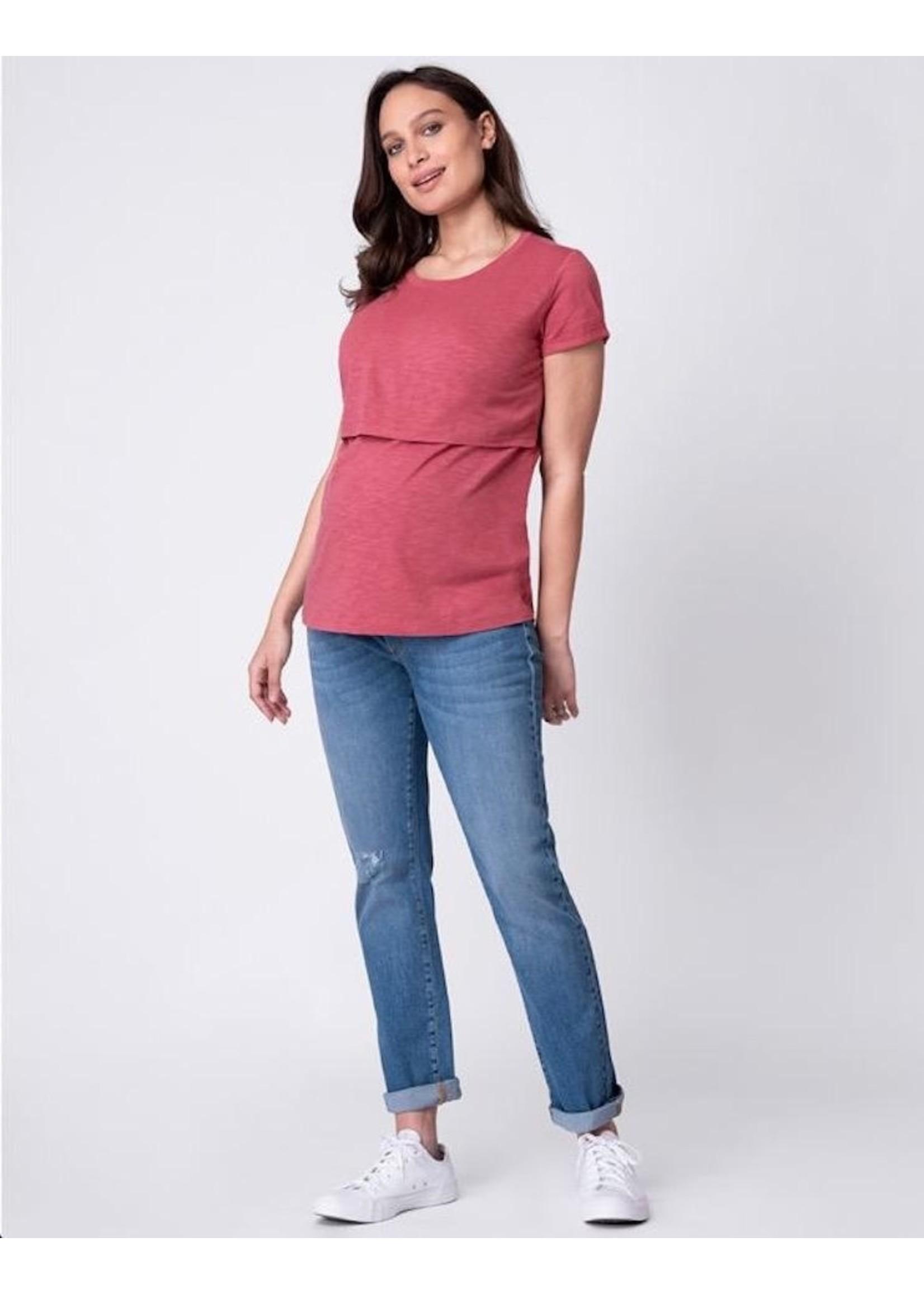 Seraphine Seraphine, Lulu Cotton Maternity & Nursing T-Shirt - Rose