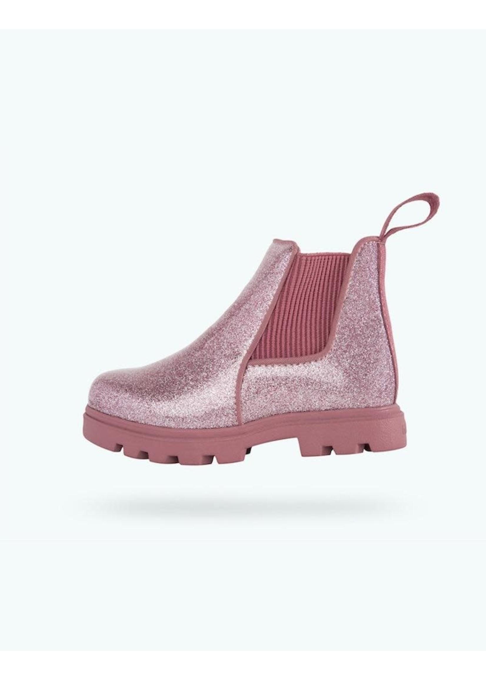 Native Shoes Native, Kensington Treklite Glitter Child in Pink Glitter/ Temple Pink