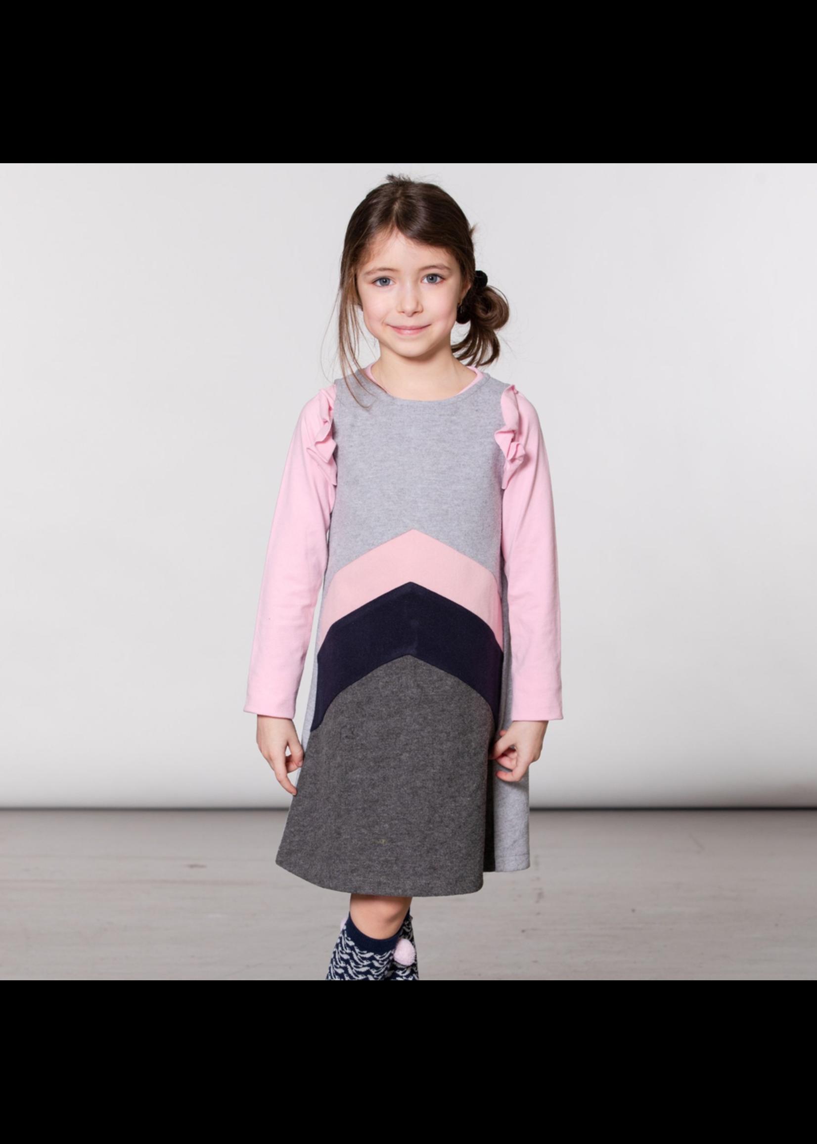 Deux Par Deux Deux Par Deux, Grey Felt Overall Jumper Dress for Girl