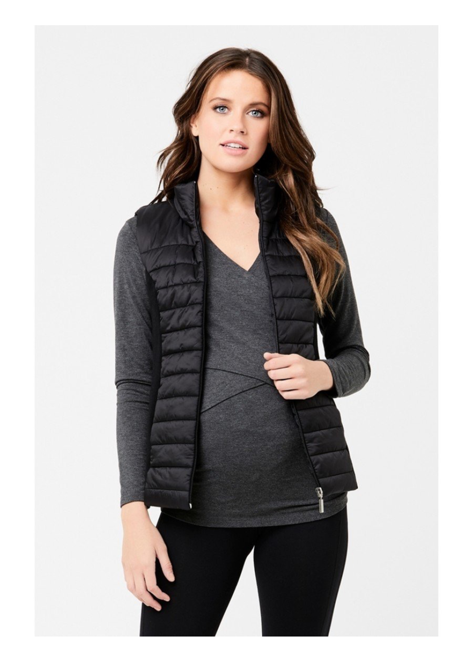 Ripe Maternity Ripe Maternity, Puffer Maternity Vest With Knit Sides