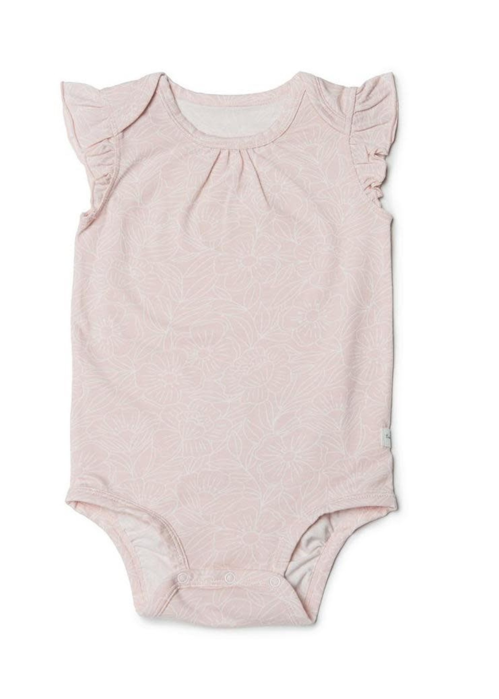 Loulou Lollipop Loulou Lollipop, Girl's Sepia Rose Floral Short Sleeve Bodysuit in TENCEL™