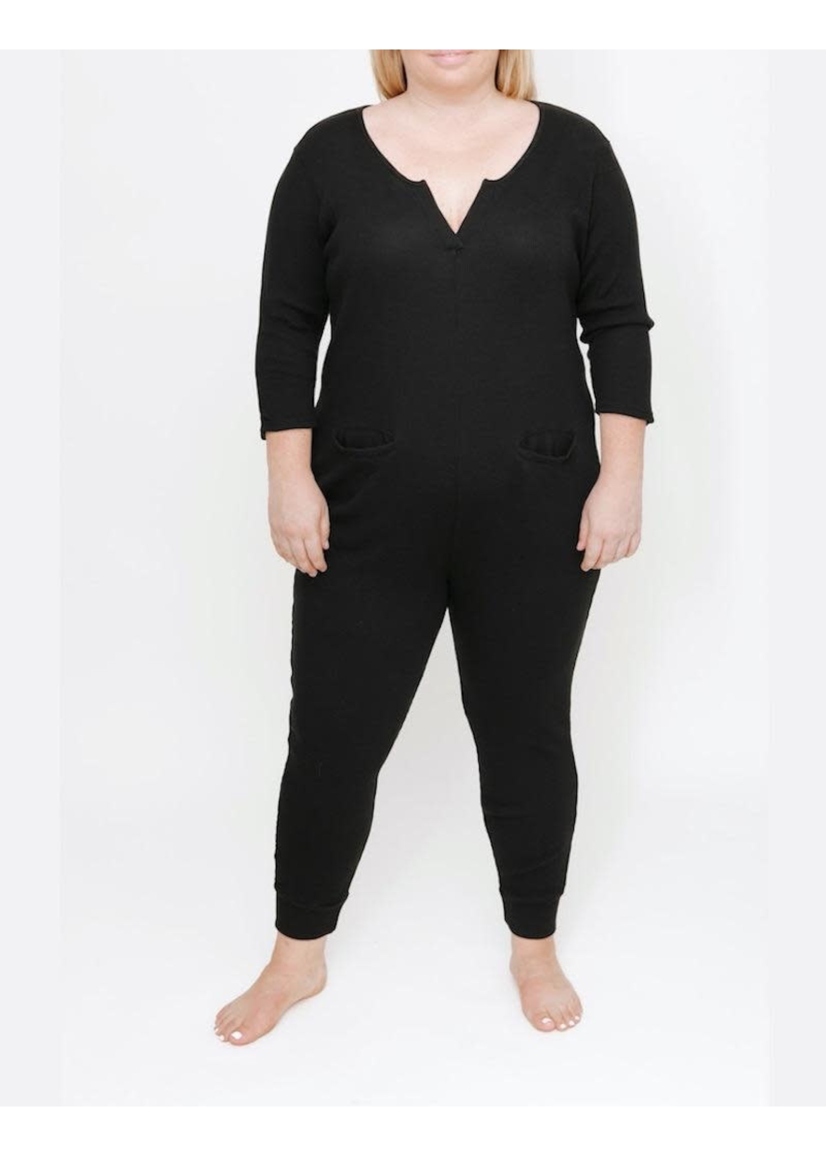 Smash + Tess Smash + Tess, The S+T Coffee Time Waffle Romper in Midnight Black