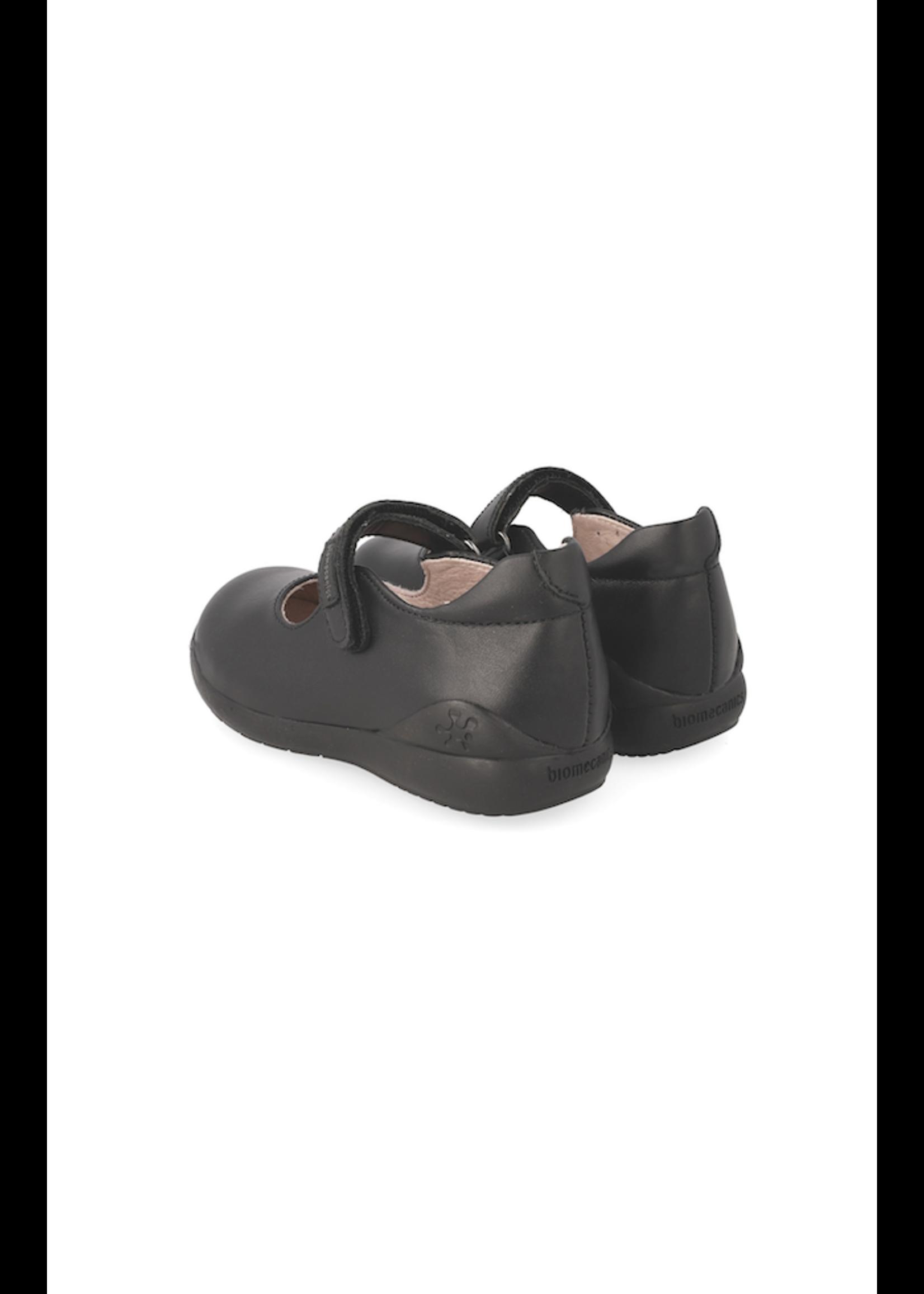 Biomechanics Biomechanics, Black Napa Velcro Mary Jane Uniform Shoes