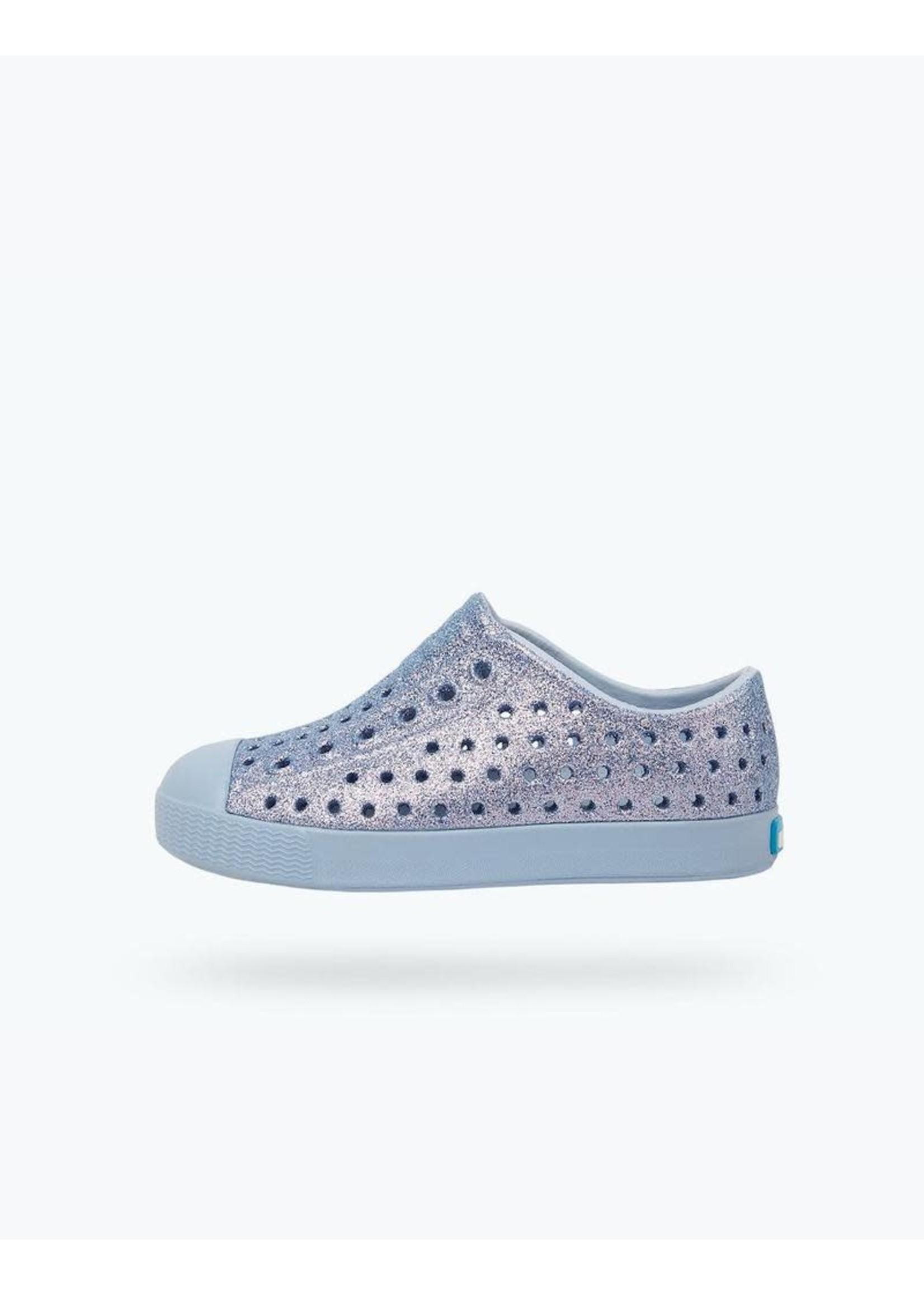 Native Shoes Native Shoes, Jefferson Bling Child in Alaska Bling/ Alaska Blue