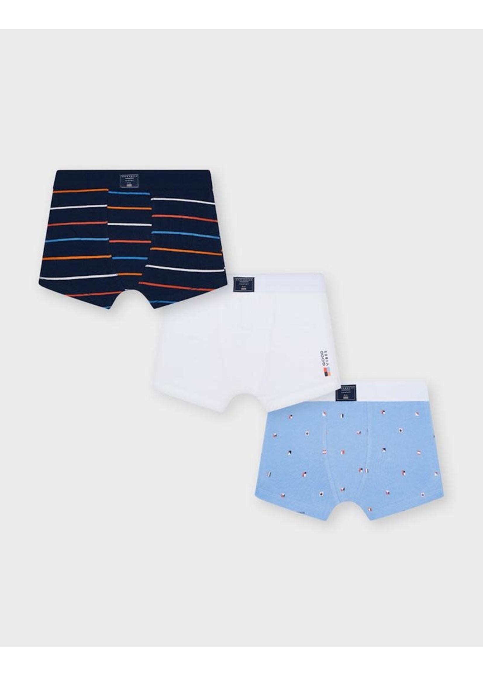 Mayoral Mayoral, Lavender Printed Boxer Shorts Set 3 pack