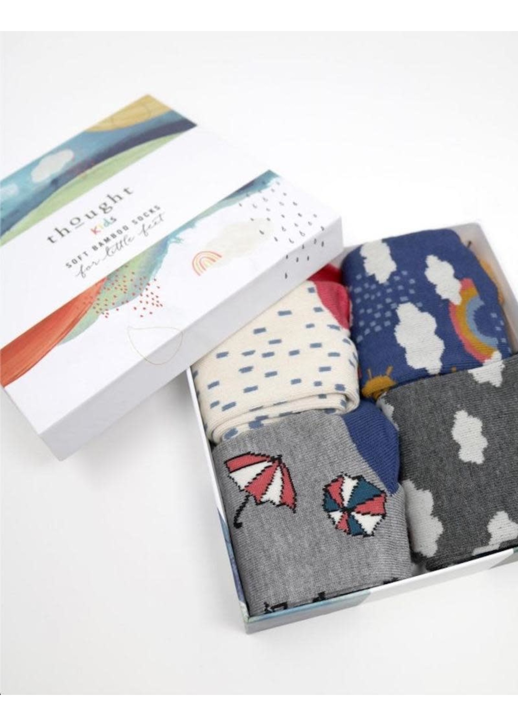 Thought Socks Thougth Kids, Overcast Bamboo Kids Weather Socks Gift 4 pack