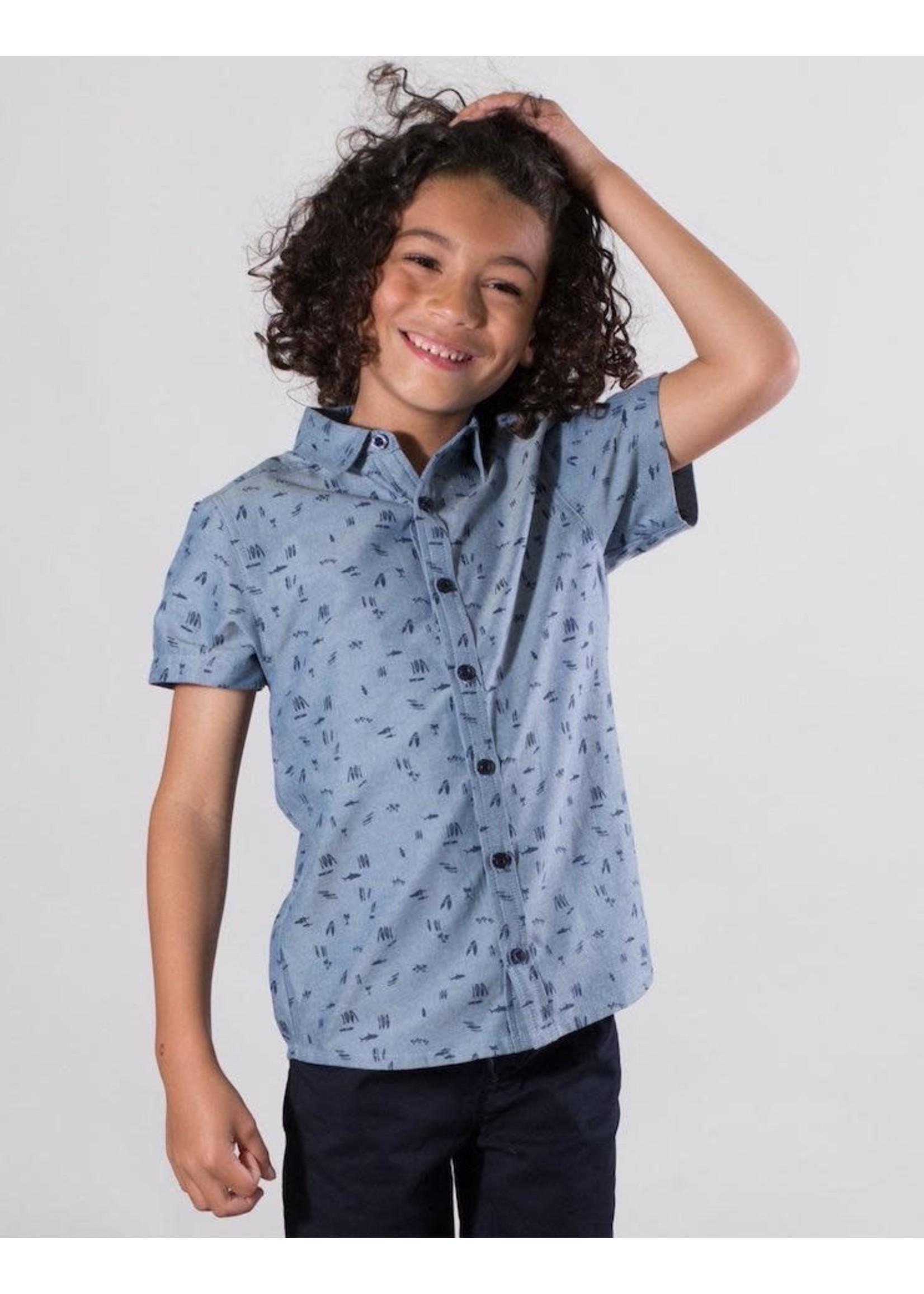 Deux Par Deux Deux Par Deux, Beach Print Chambray Shirt