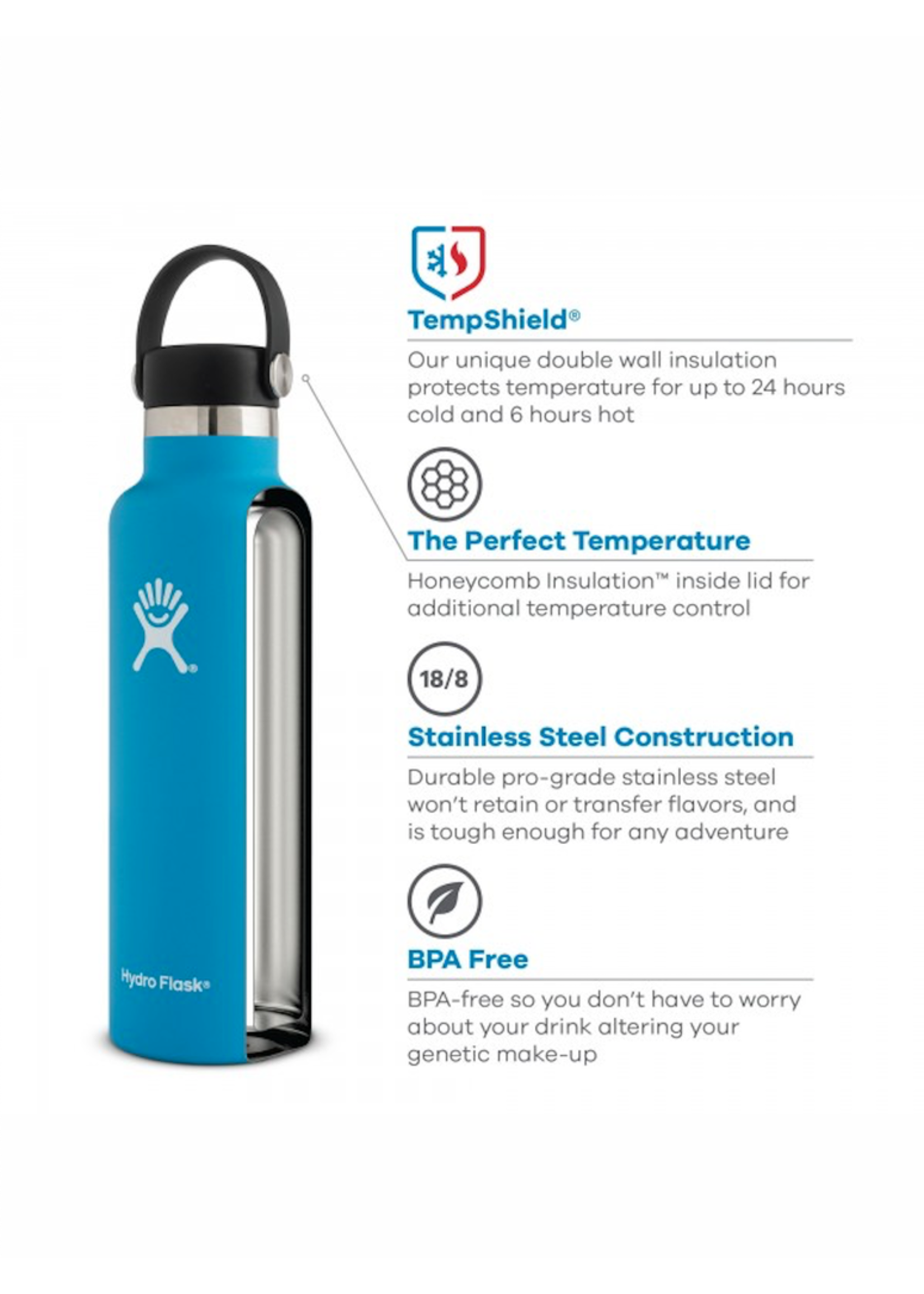 Hydro Flask Hydro Flask, 21 oz Standard Mouth Flex Cap Insulated Stainless Steel Bottle in Cobalt
