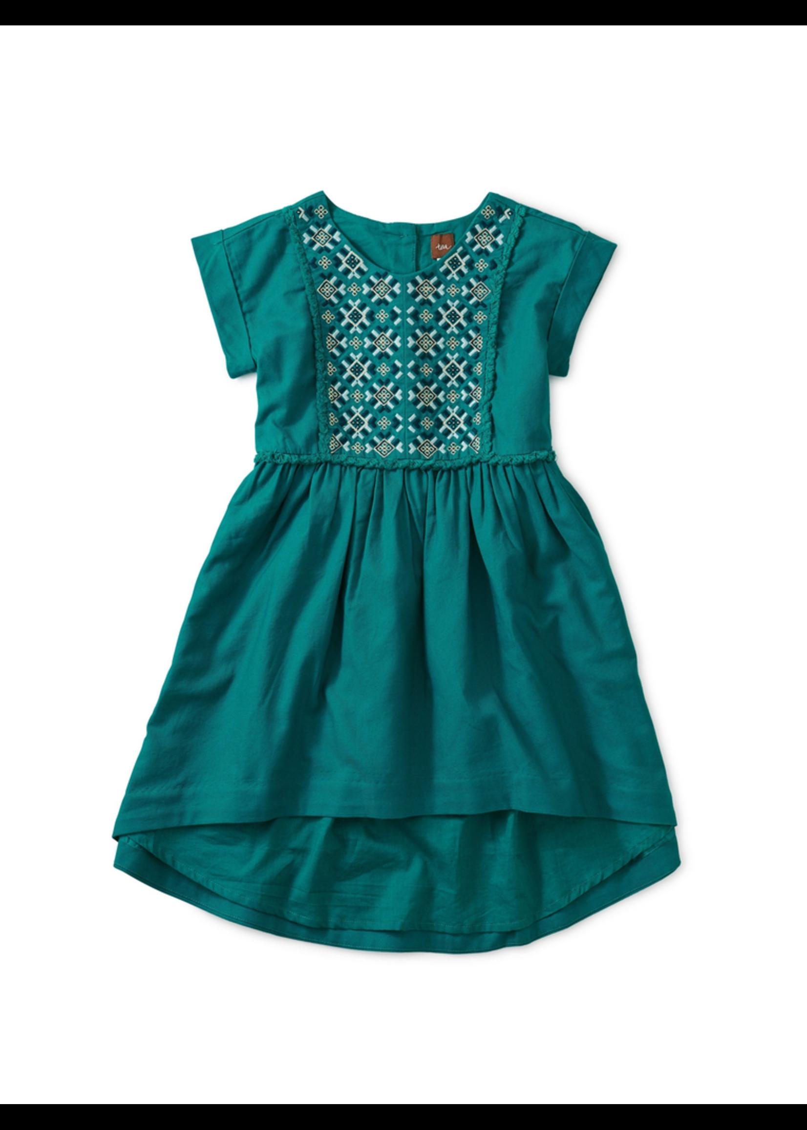 Tea Collection Tea Collection, Metallic Embroidered Hi-Lo Dress for Girl