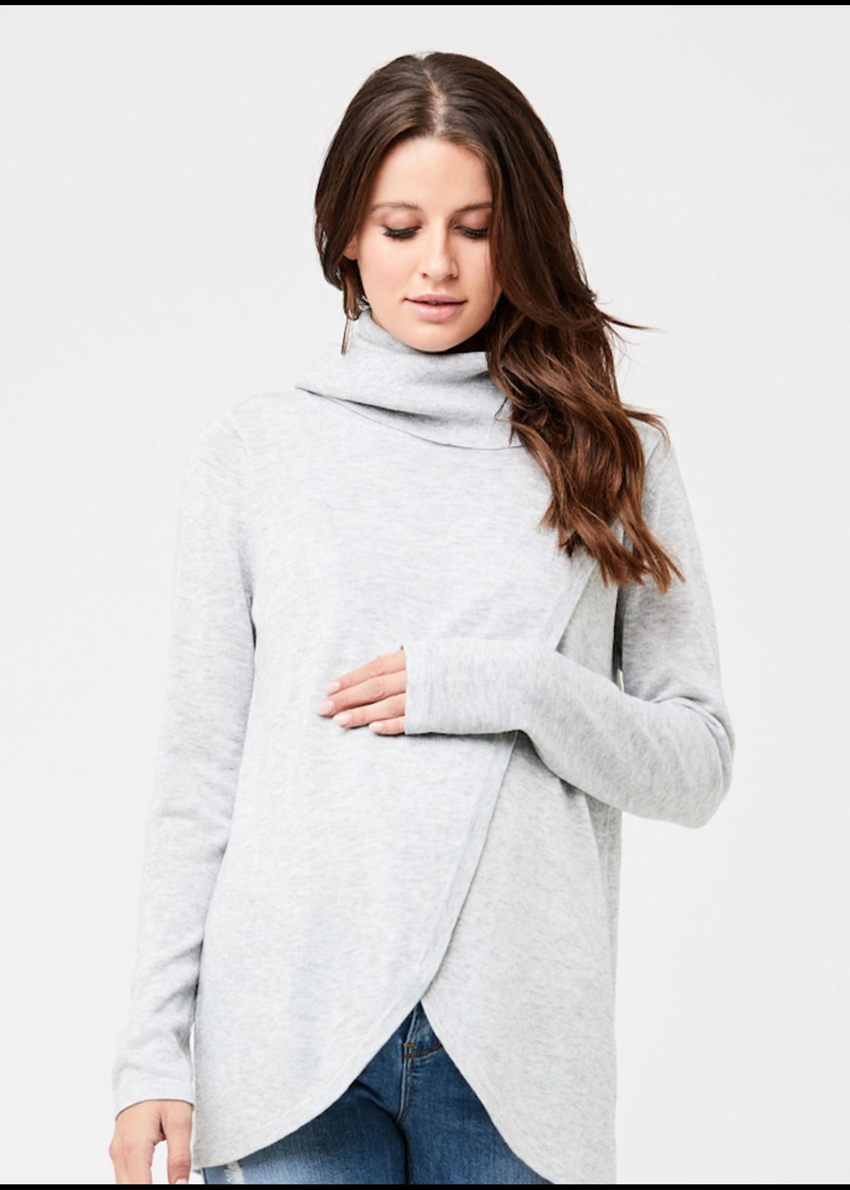 Ripe Maternity Ripe Maternity, Cowl Neck Nursing Knit Sweater in Silver Marle