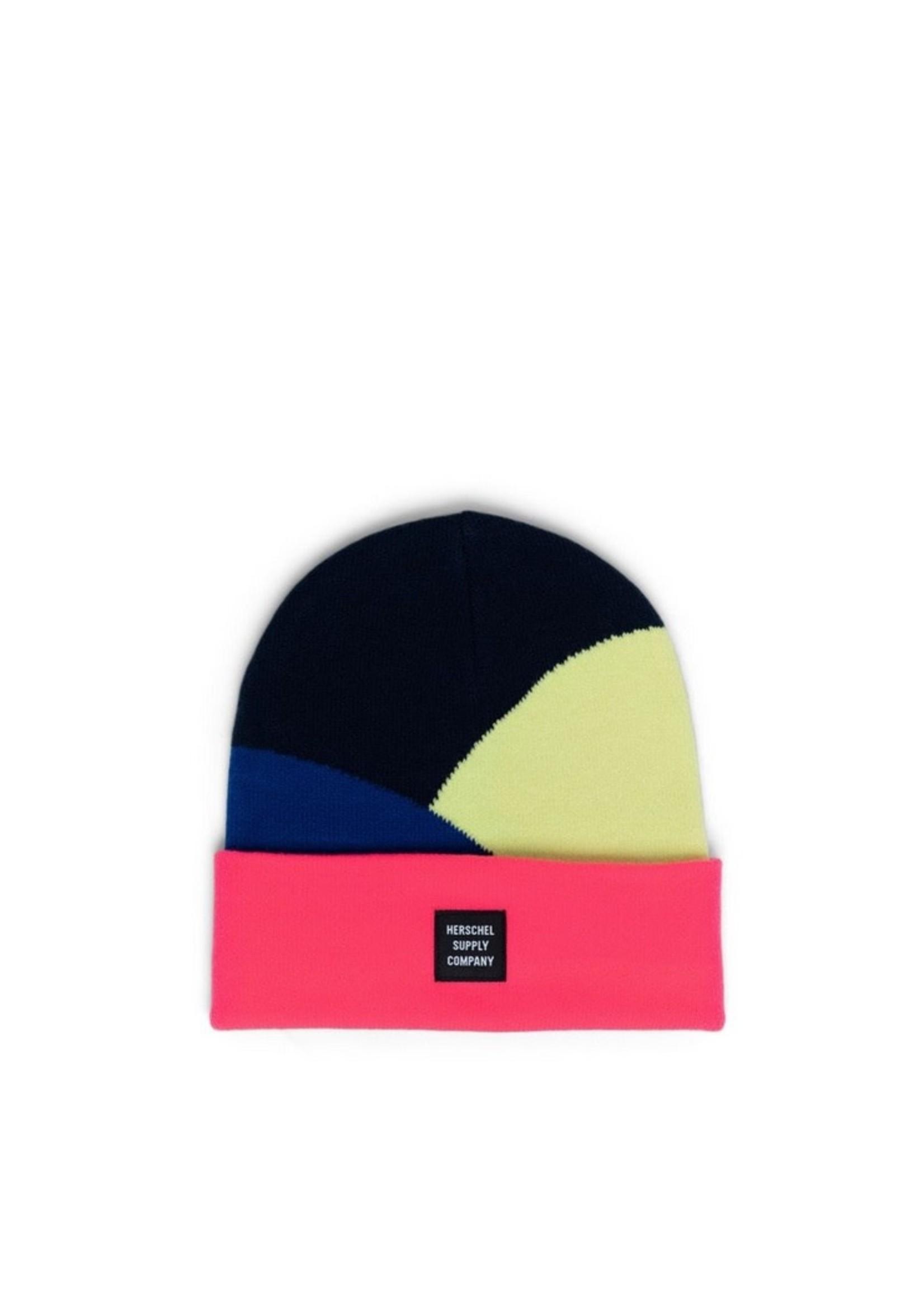 Herschel Supply Co. Abbott Beanie   in Peacoat/Neon Pink Colorblock