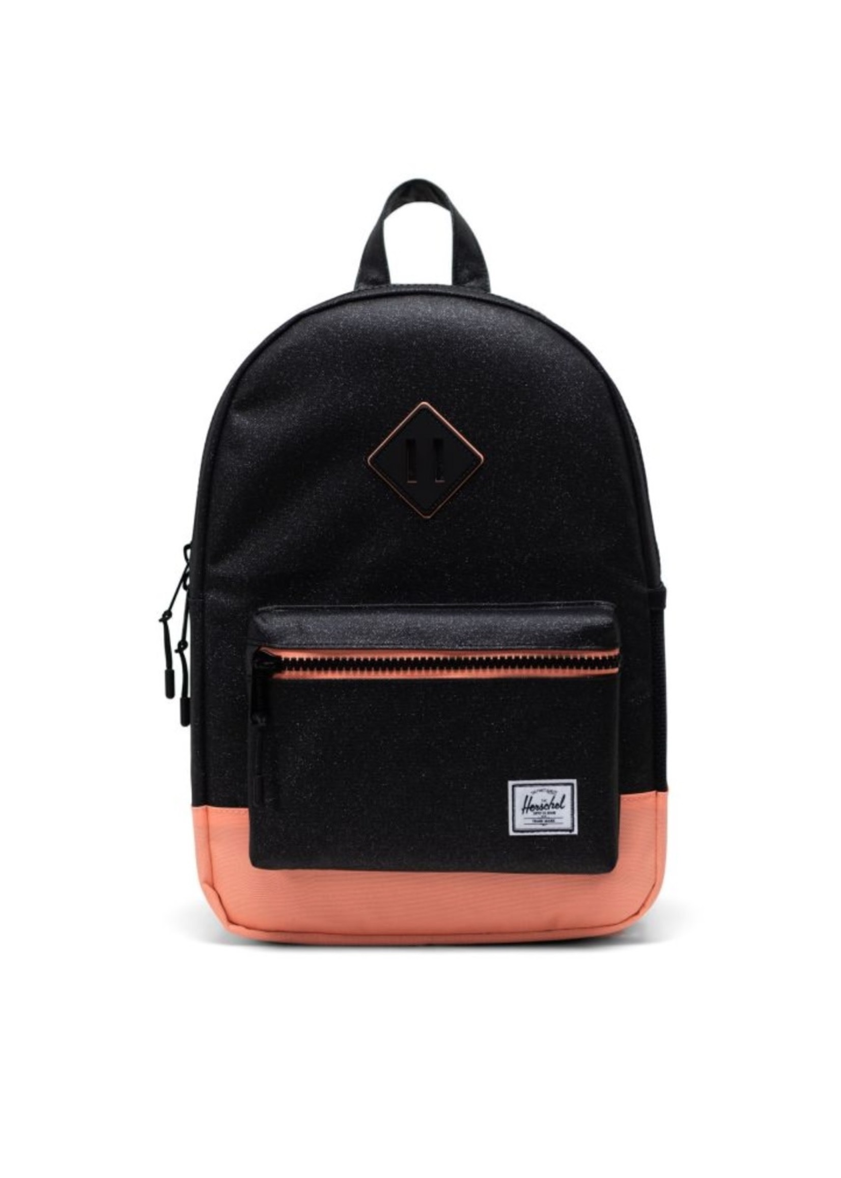 Herschel Supply Co. Heritage Backpack   Youth, Black Sparkle/Neon Peach, 16L