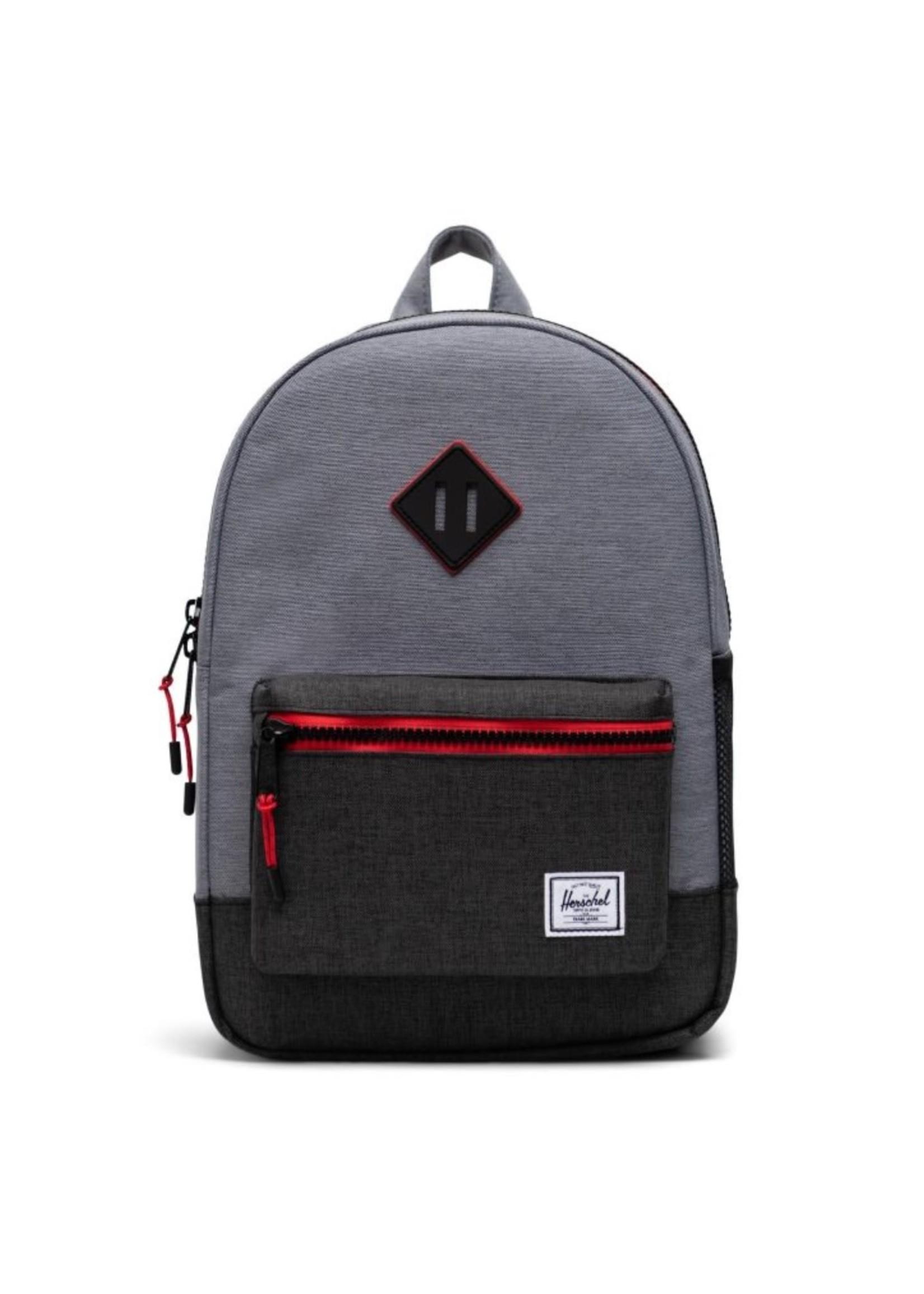 Herschel Supply Co. Heritage Backpack | Youth XL, Mid Grey Crosshatch/Black Crosshatch, 22L