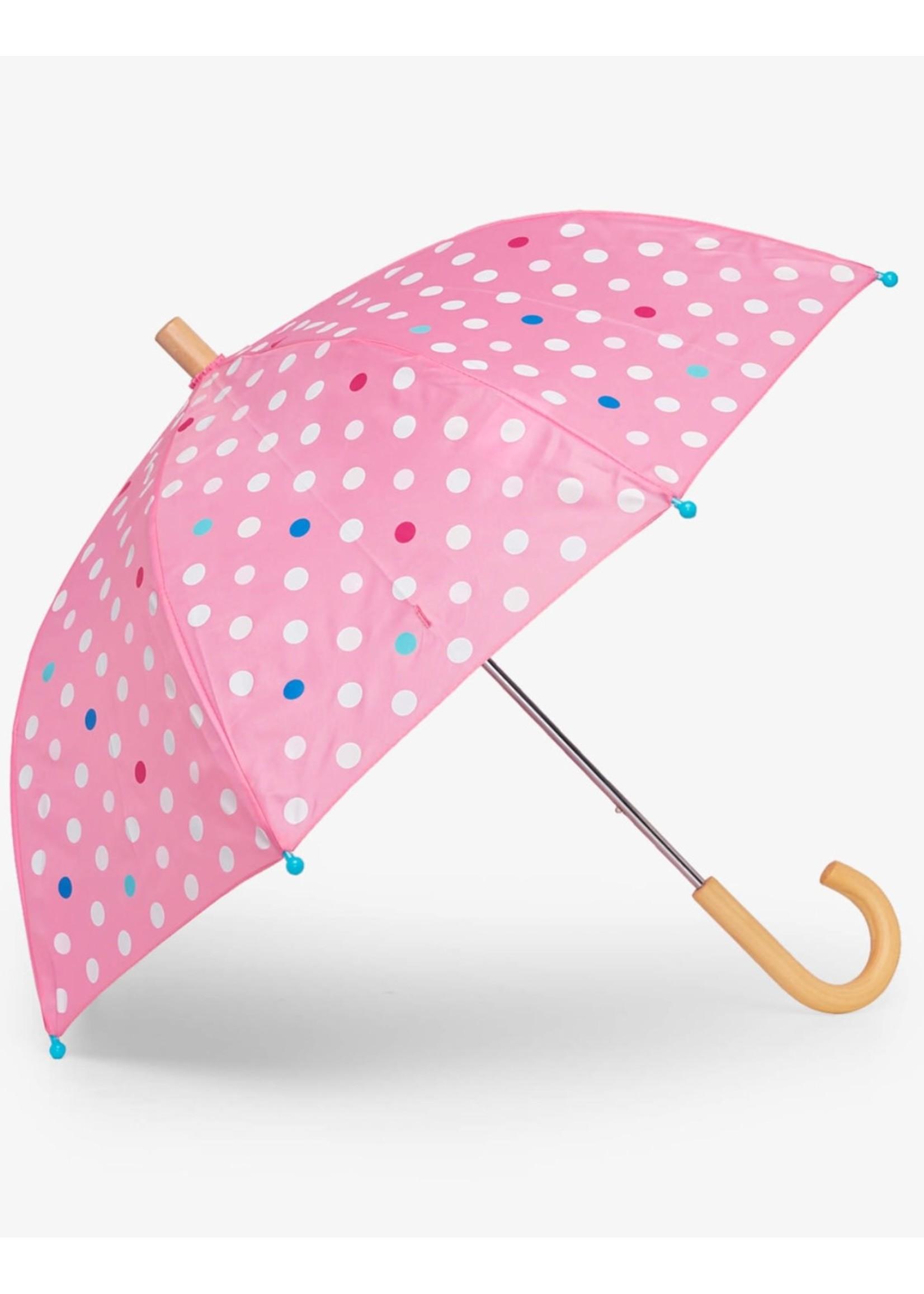 Hatley Hatley, Polka Dots Colour Change Umbrella in Pink Carnation