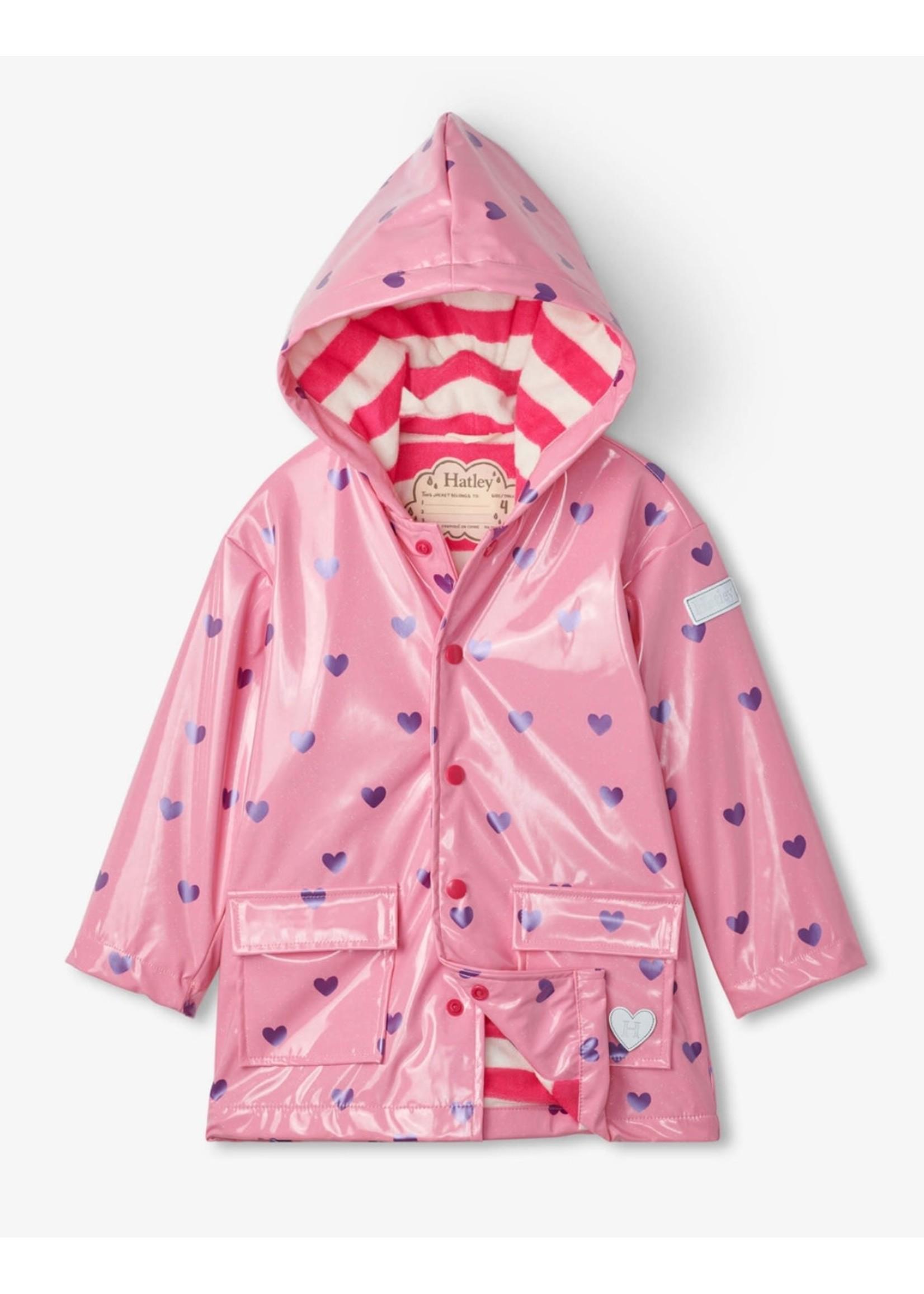 Hatley Scattered Hearts Glitter Raincoat