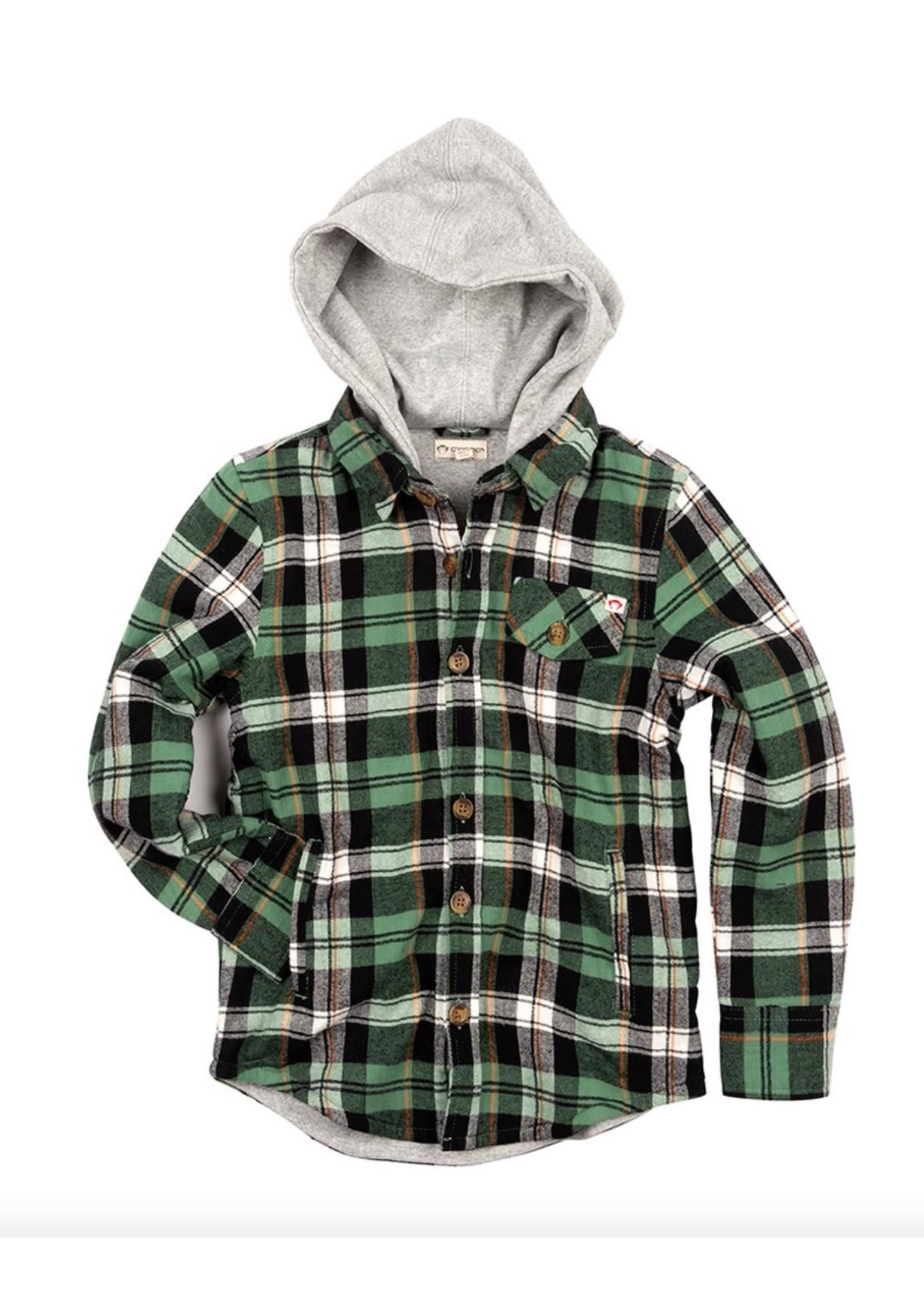Appaman Glen Hooded Shirt in Moss Plaid