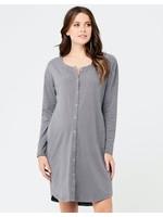 Ripe Maternity Blake Long Sleeve Button Up Nightie in Gunship / White